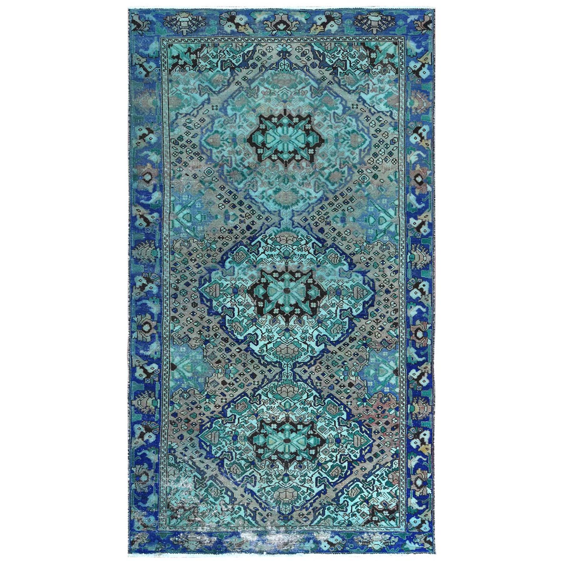 Fetneh Collection And Vintage Overdyed Collection Hand Knotted Green Rug No: 1122170