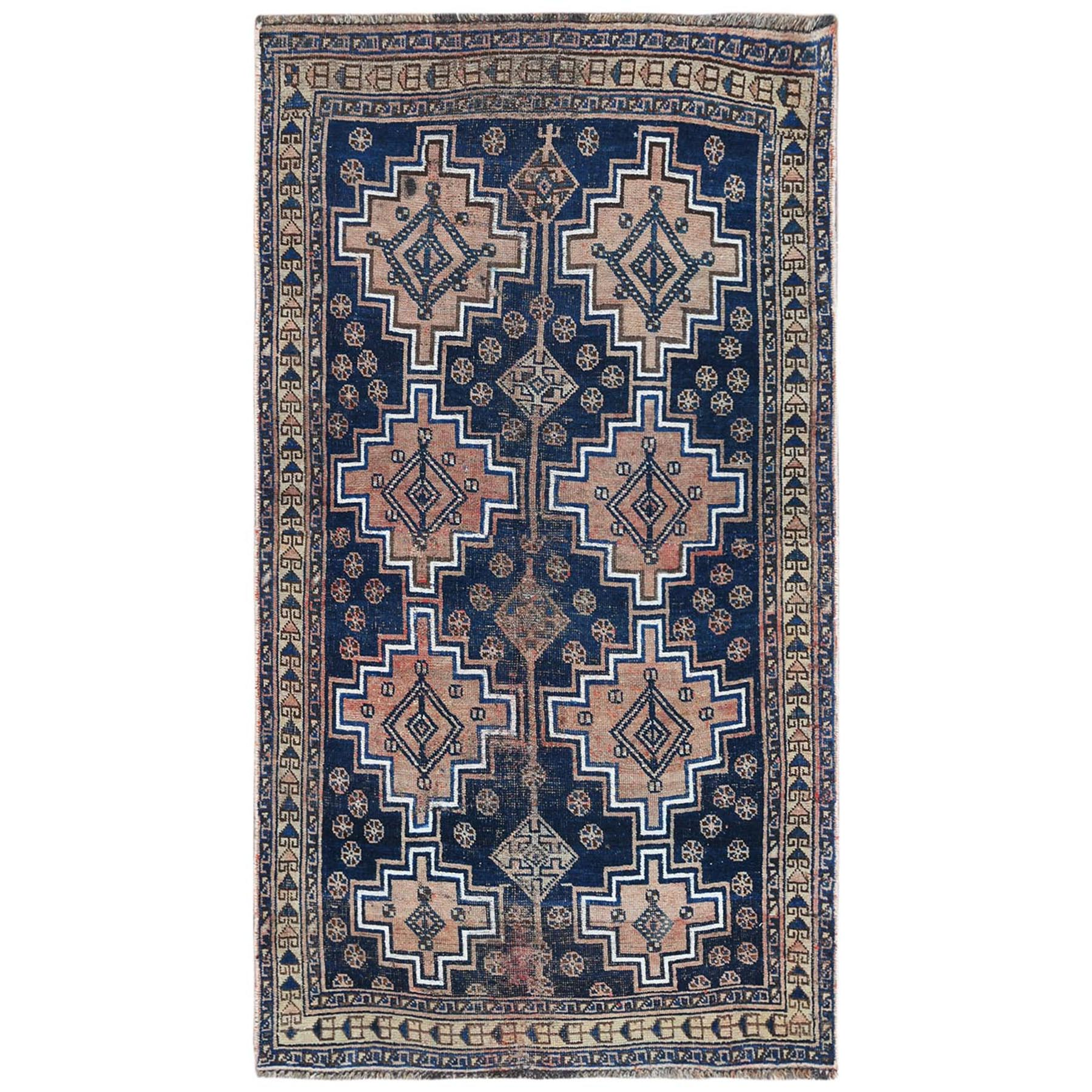 Fetneh Collection And Vintage Overdyed Collection Hand Knotted Blue Rug No: 1122182