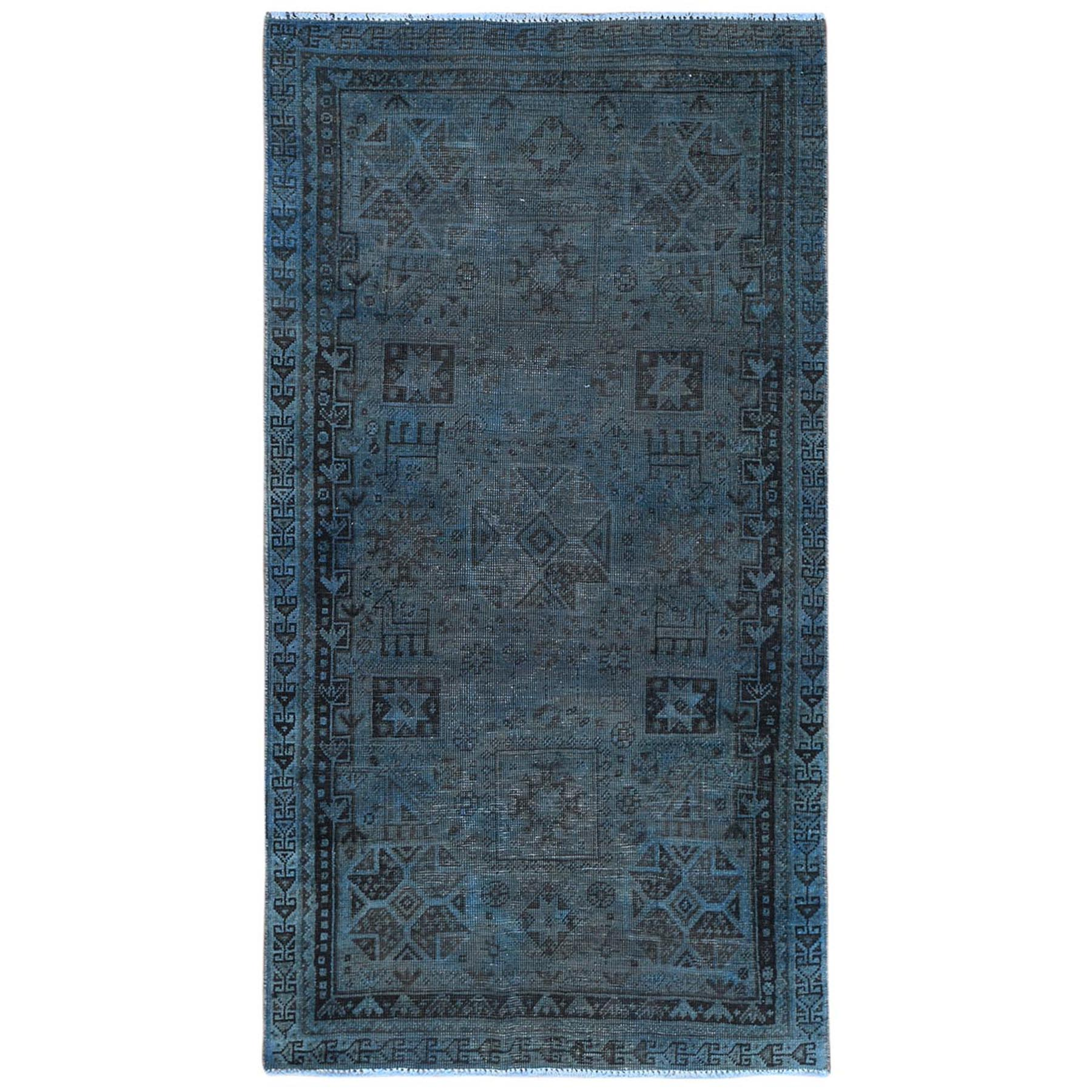 Fetneh Collection And Vintage Overdyed Collection Hand Knotted Blue Rug No: 1122196