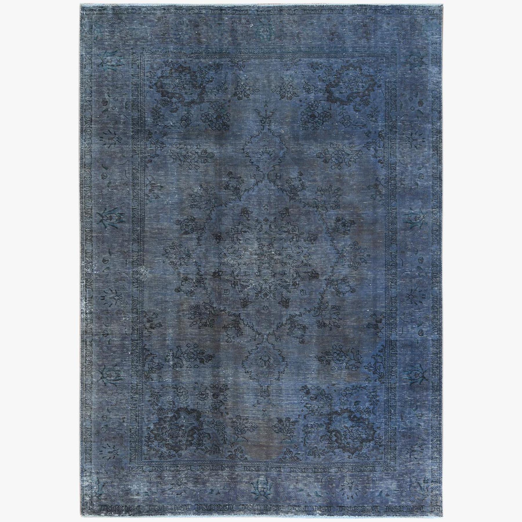 Fetneh Collection And Vintage Overdyed Collection Hand Knotted Blue Rug No: 1122804
