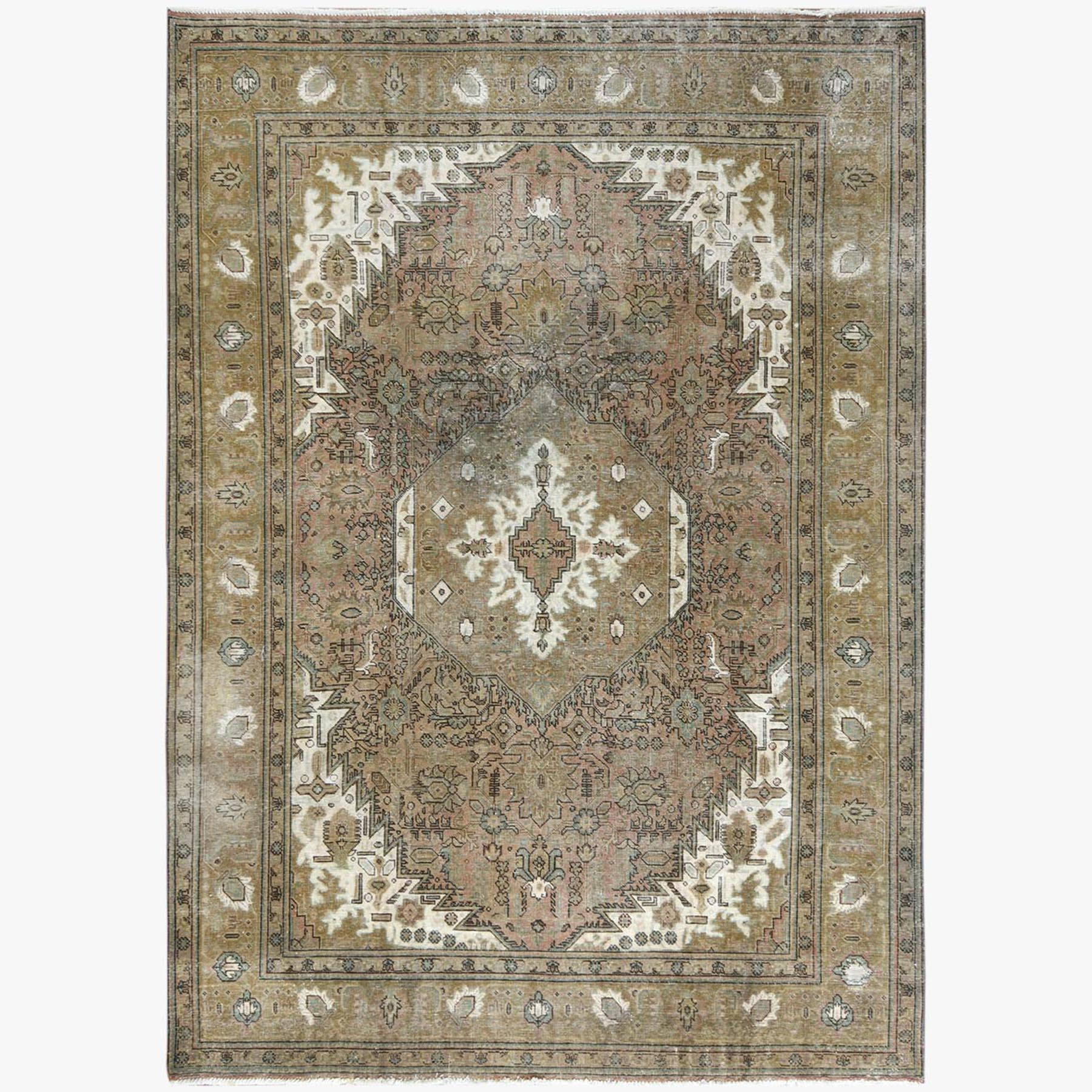 Fetneh Collection And Vintage Overdyed Collection Hand Knotted Beige Rug No: 1122806
