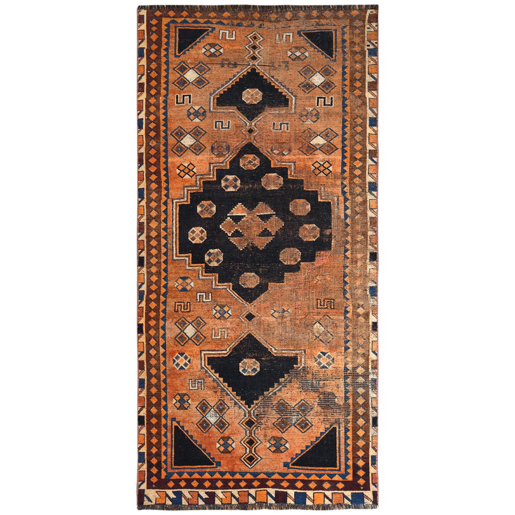 Fetneh Collection And Vintage Overdyed Collection Hand Knotted Orange Rug No: 1122202