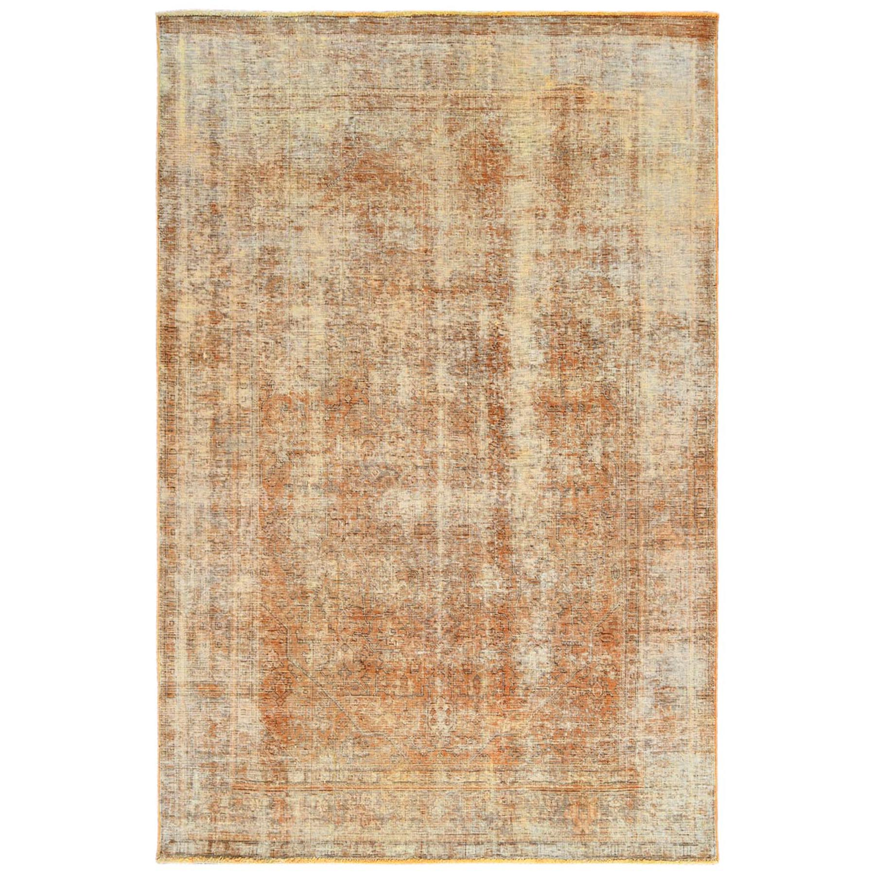 Fetneh Collection And Vintage Overdyed Collection Hand Knotted Orange Rug No: 1122492