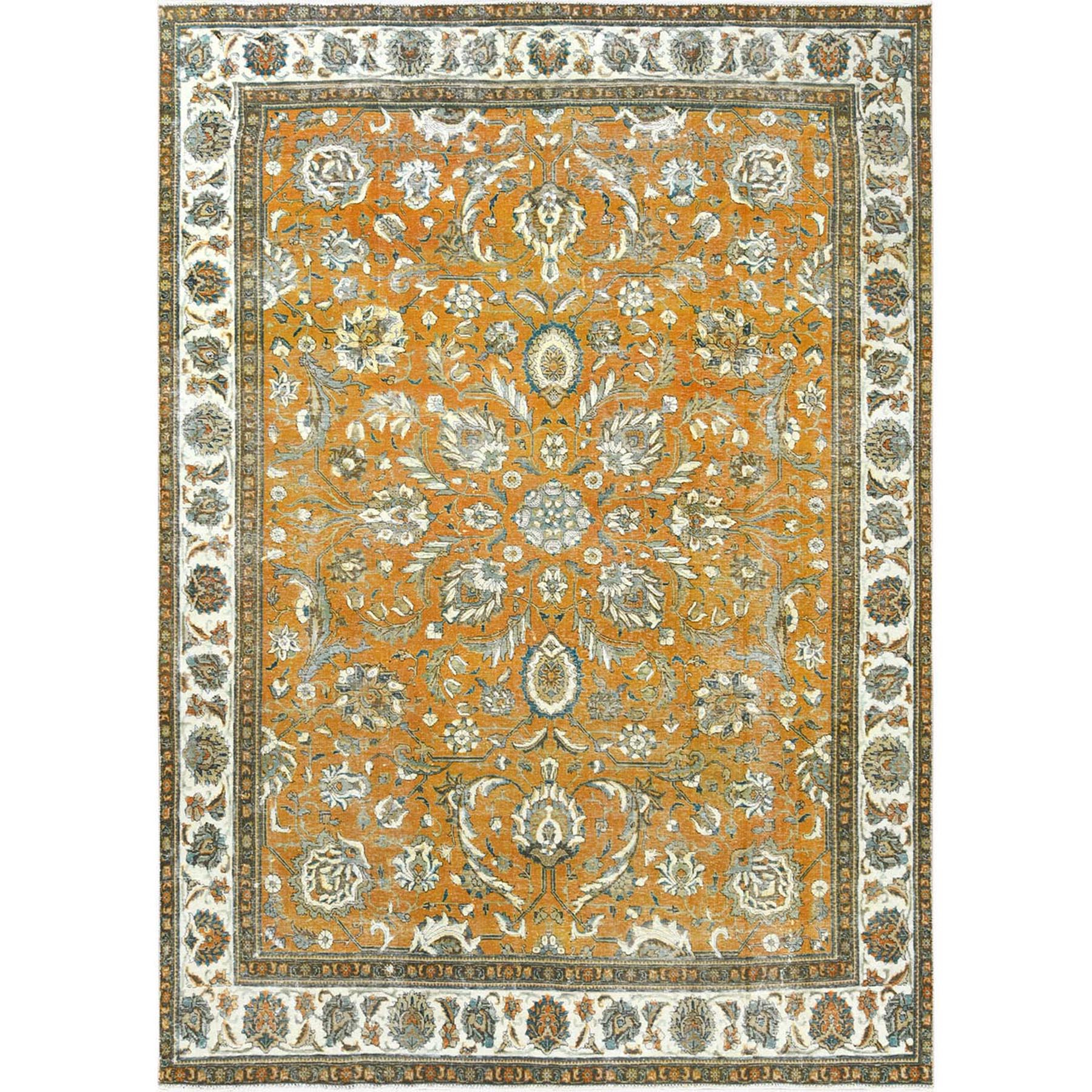 Fetneh Collection And Vintage Overdyed Collection Hand Knotted Orange Rug No: 1122604