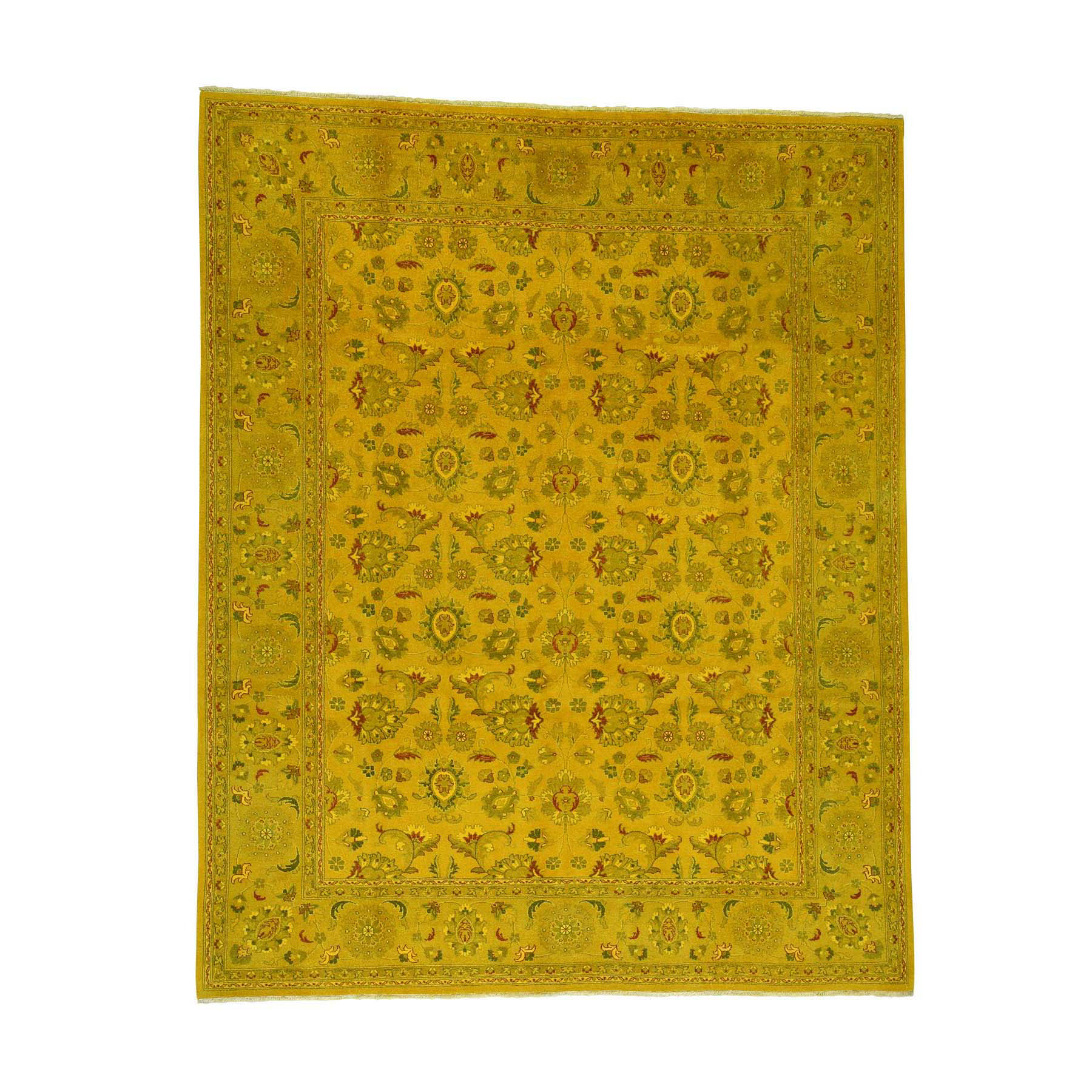Fetneh Collection And Vintage Overdyed Collection Hand Knotted Yellow Rug No: 0172170