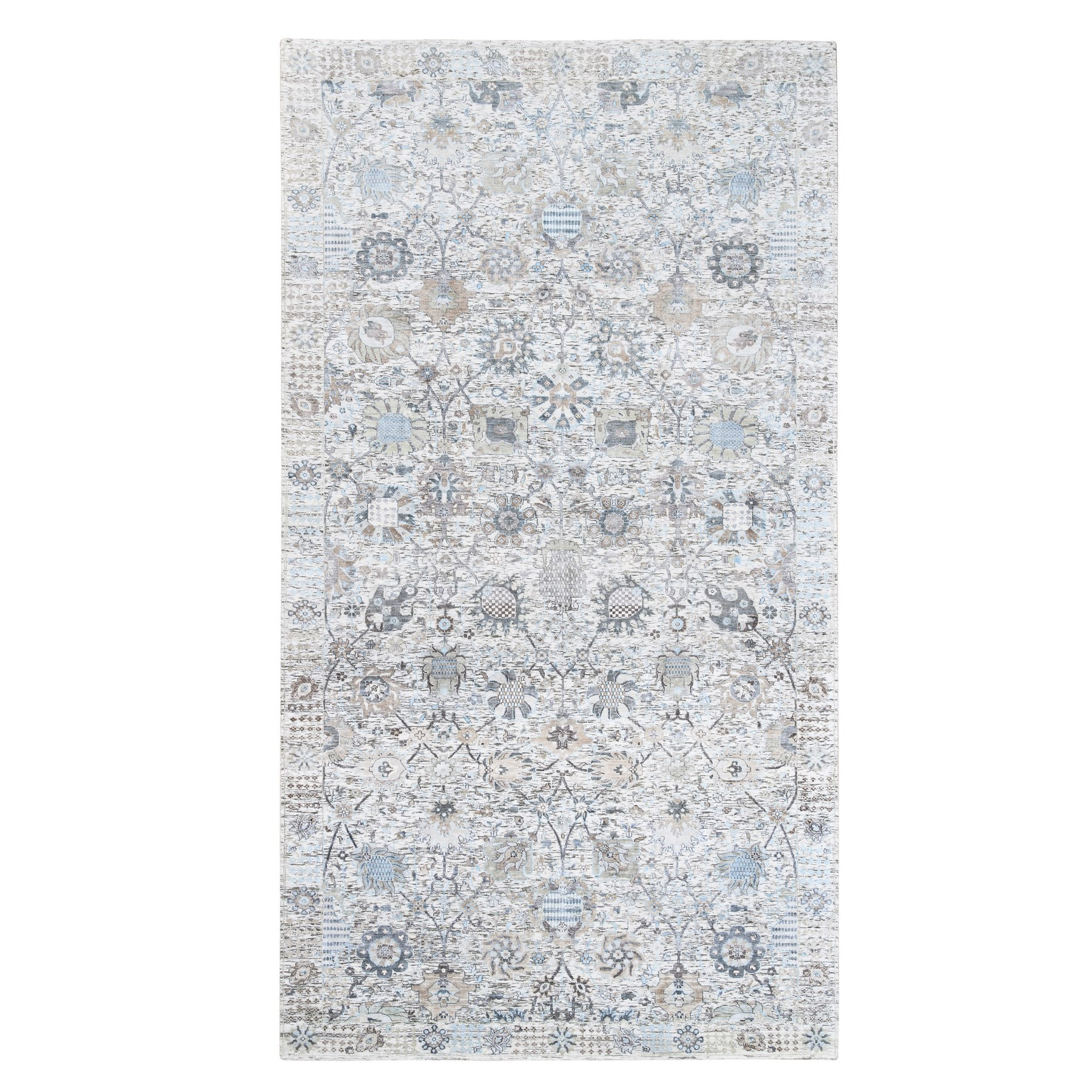 Transitional Hand Knotted Ivory Rug No: 1126500
