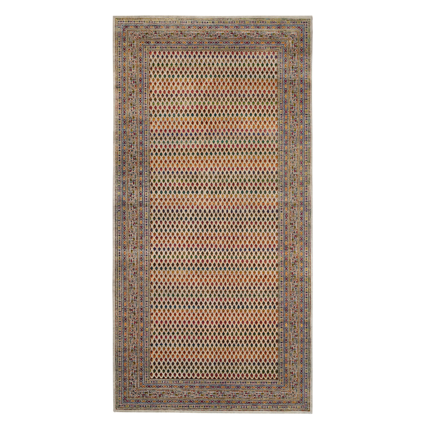 Mid Century Modern Collection Hand Knotted Beige Rug No: 1126426