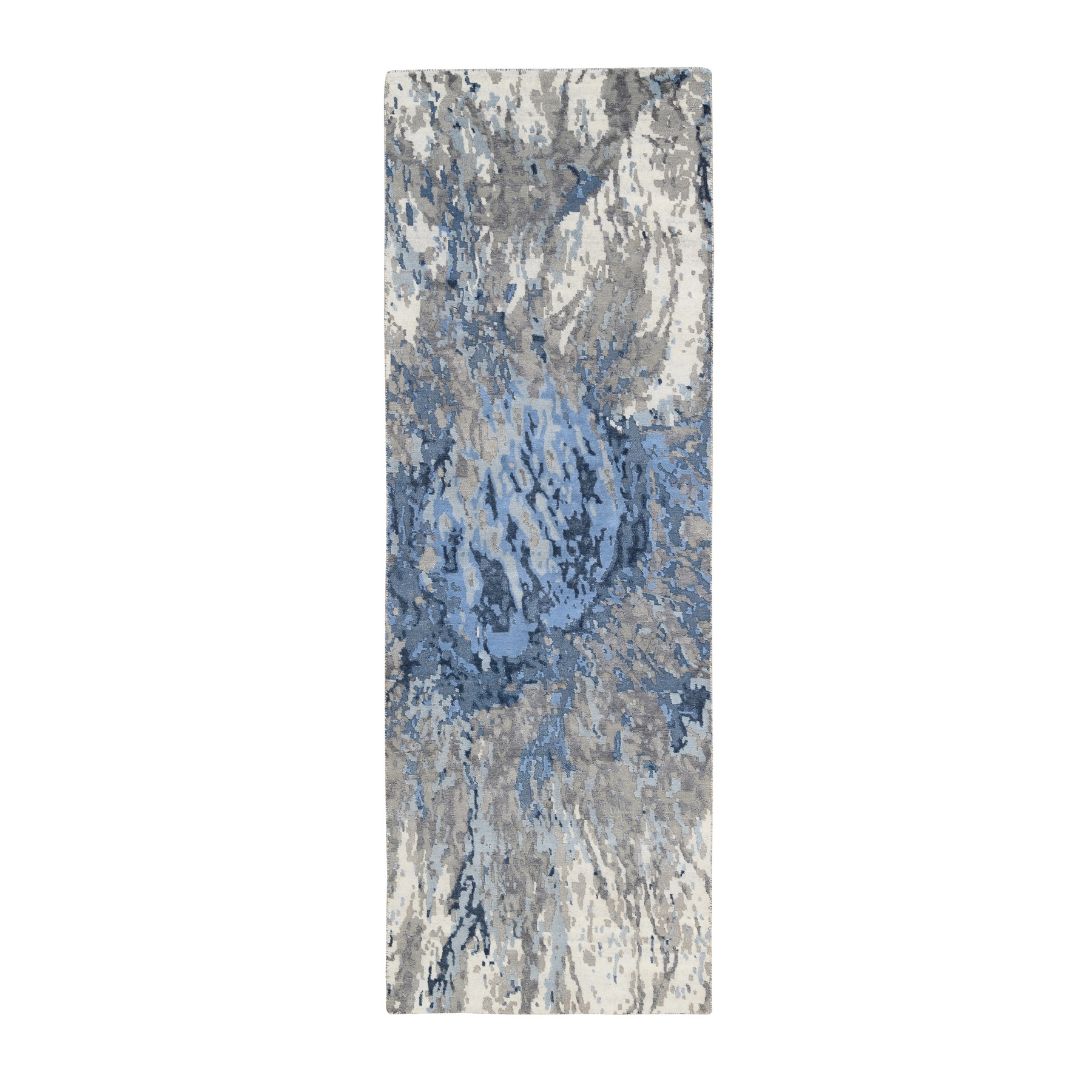 Mid Century Modern Collection Hand Knotted Blue Rug No: 1126390