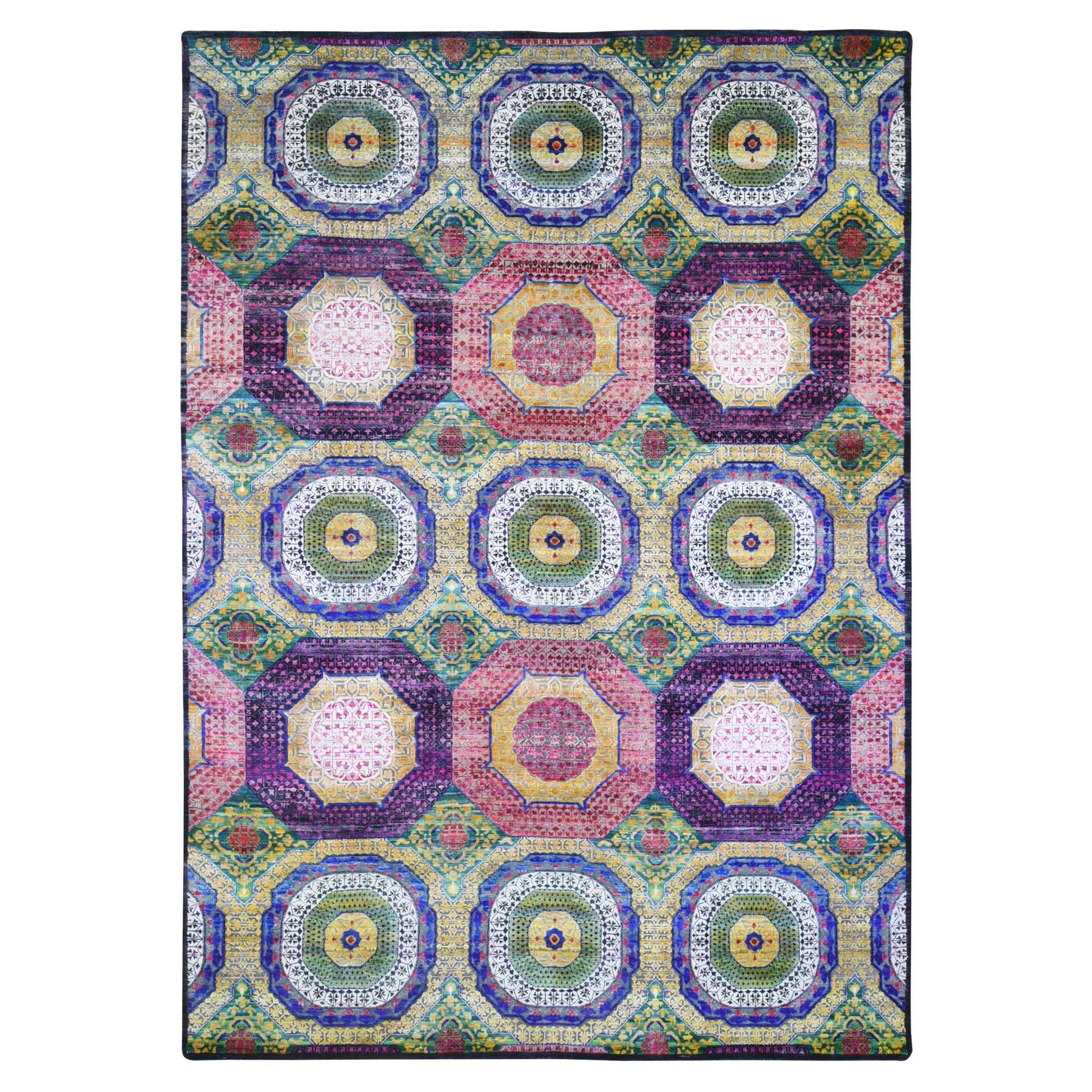 Intricate Collection Hand Knotted Yellow Rug No: 1133690