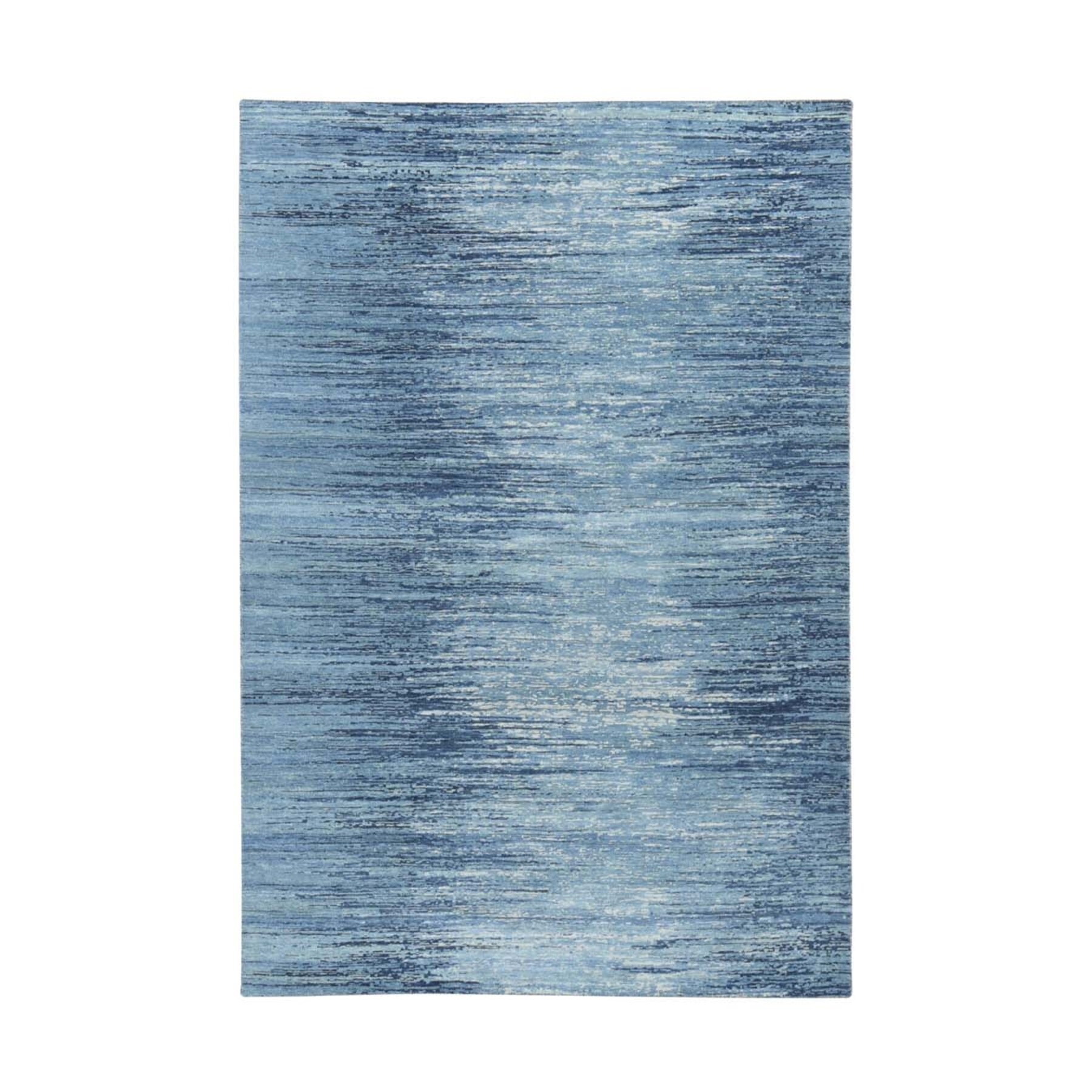 Mid Century Modern Collection Hand Knotted Blue Rug No: 1133692