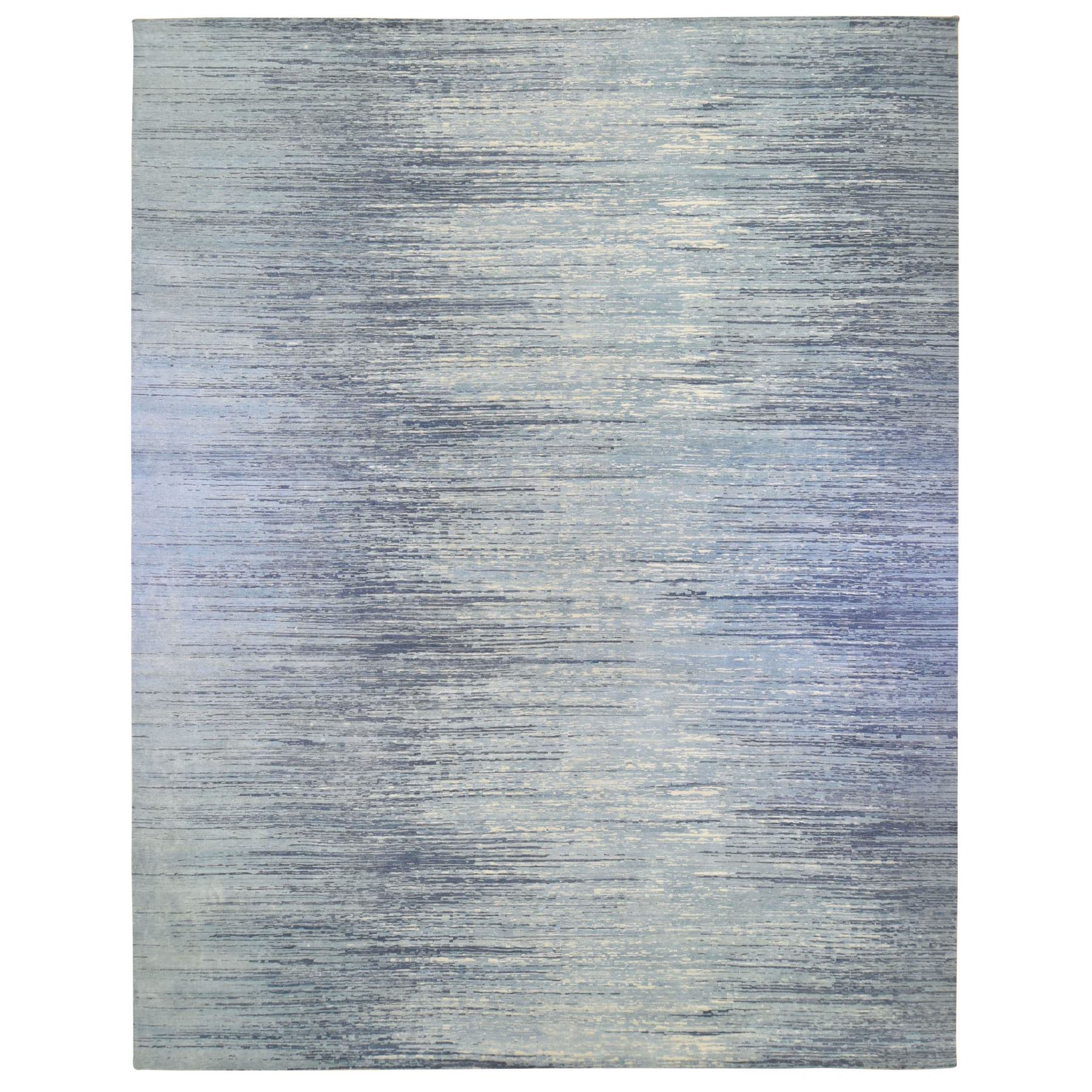 Mid Century Modern Collection Hand Knotted Blue Rug No: 1133694