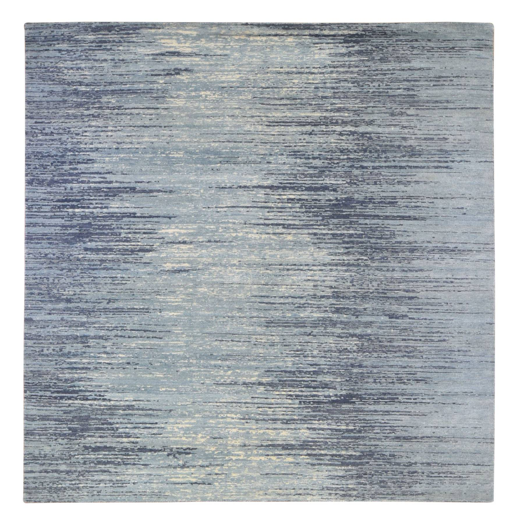 Mid Century Modern Collection Hand Knotted Blue Rug No: 1133702