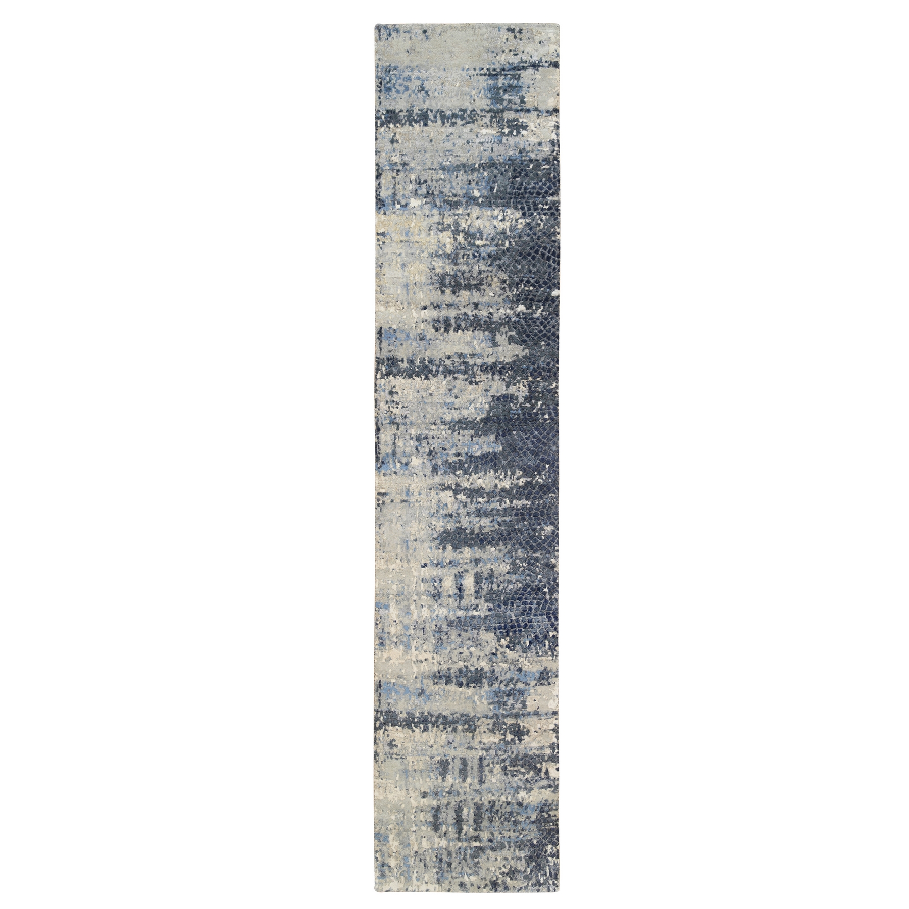Mid Century Modern Collection Hand Knotted Blue Rug No: 1126502