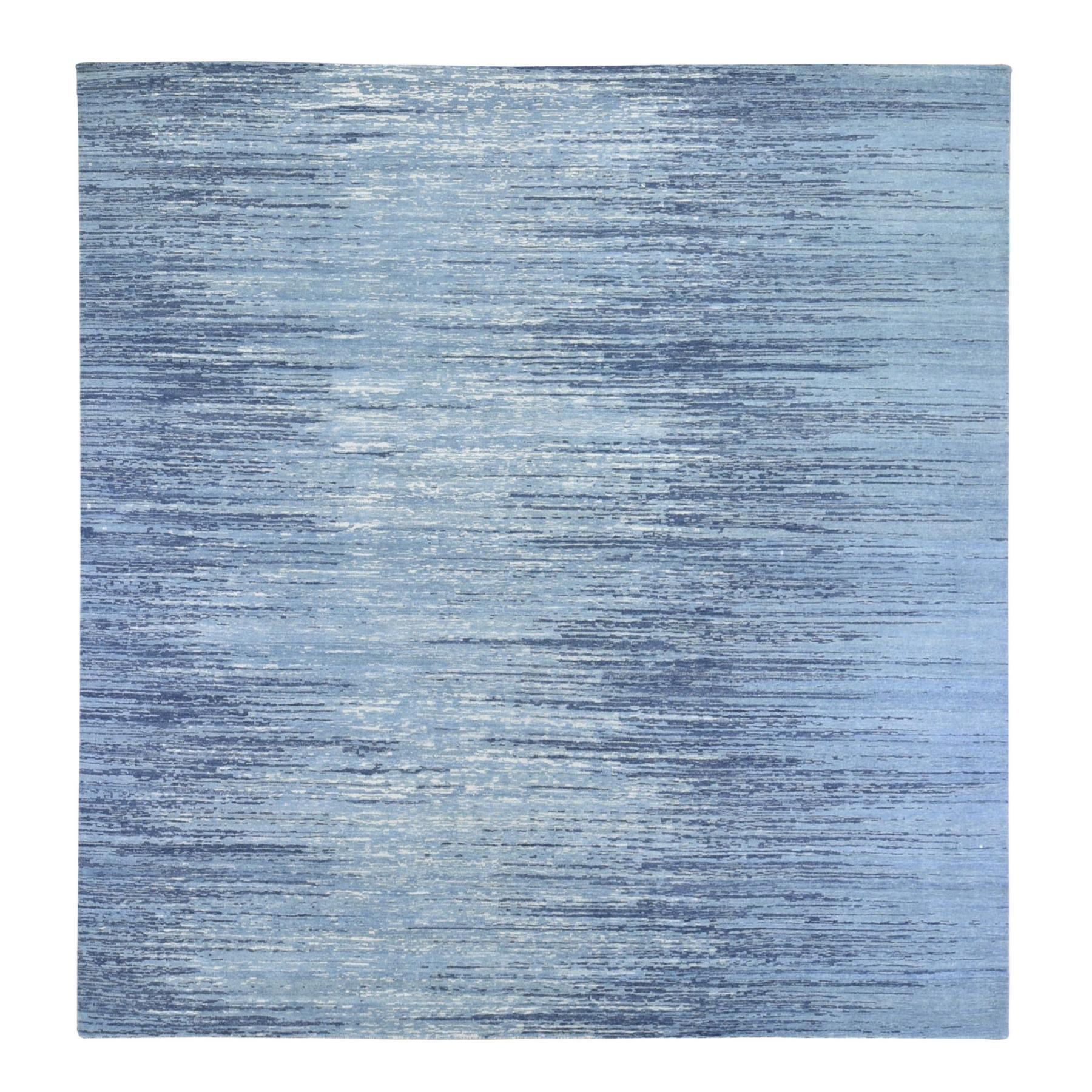 Mid Century Modern Collection Hand Knotted Blue Rug No: 1133704