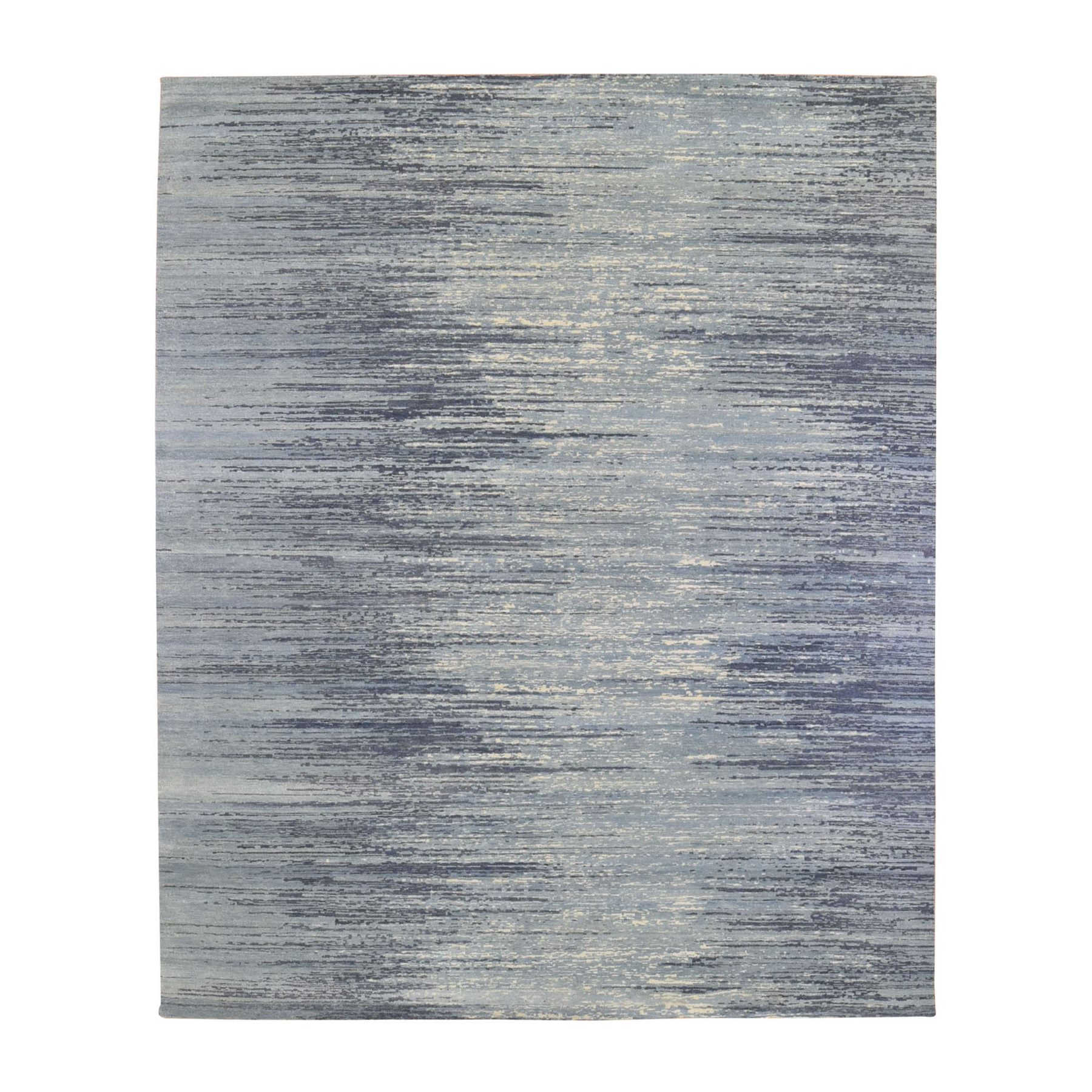 Mid Century Modern Collection Hand Knotted Blue Rug No: 1133708