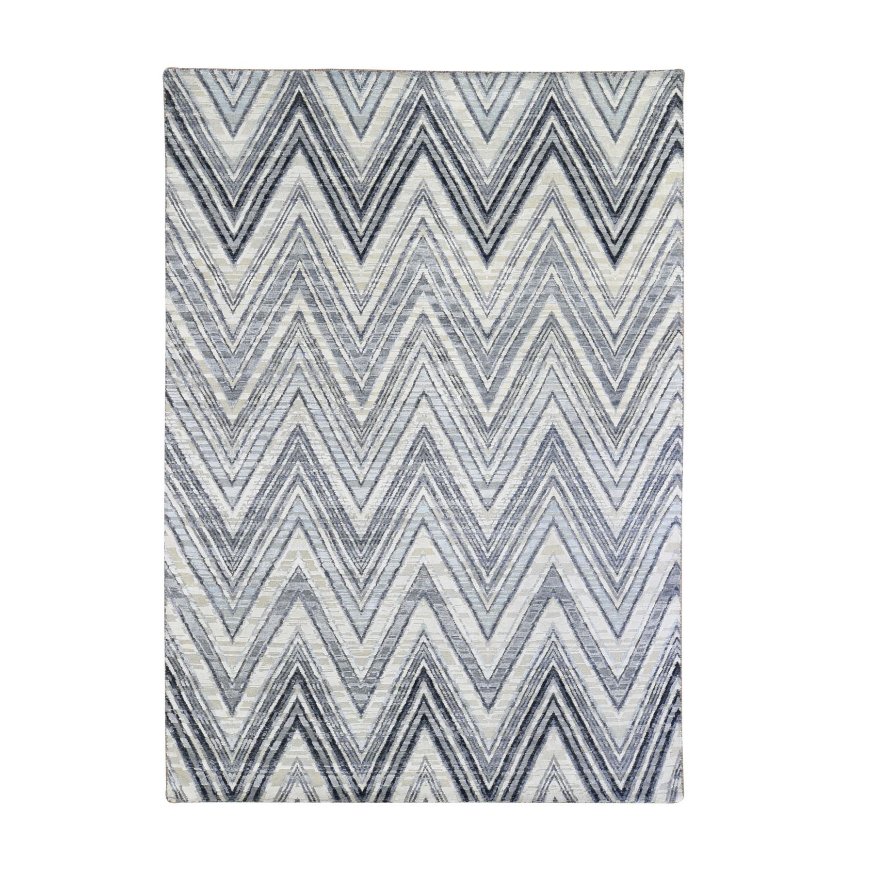 Mid Century Modern Collection Hand Knotted Ivory Rug No: 1133710
