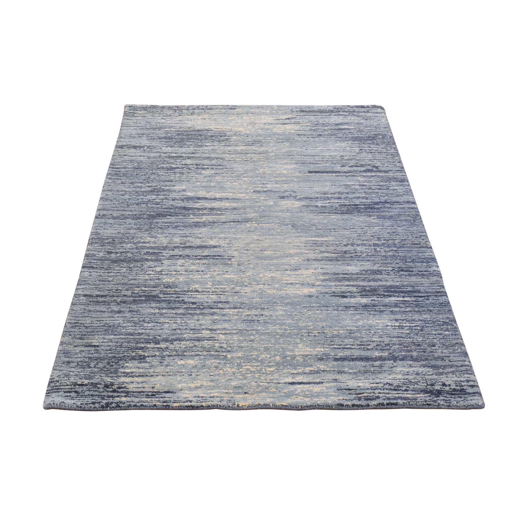 Mid Century Modern Collection Hand Knotted Blue Rug No: 1133716