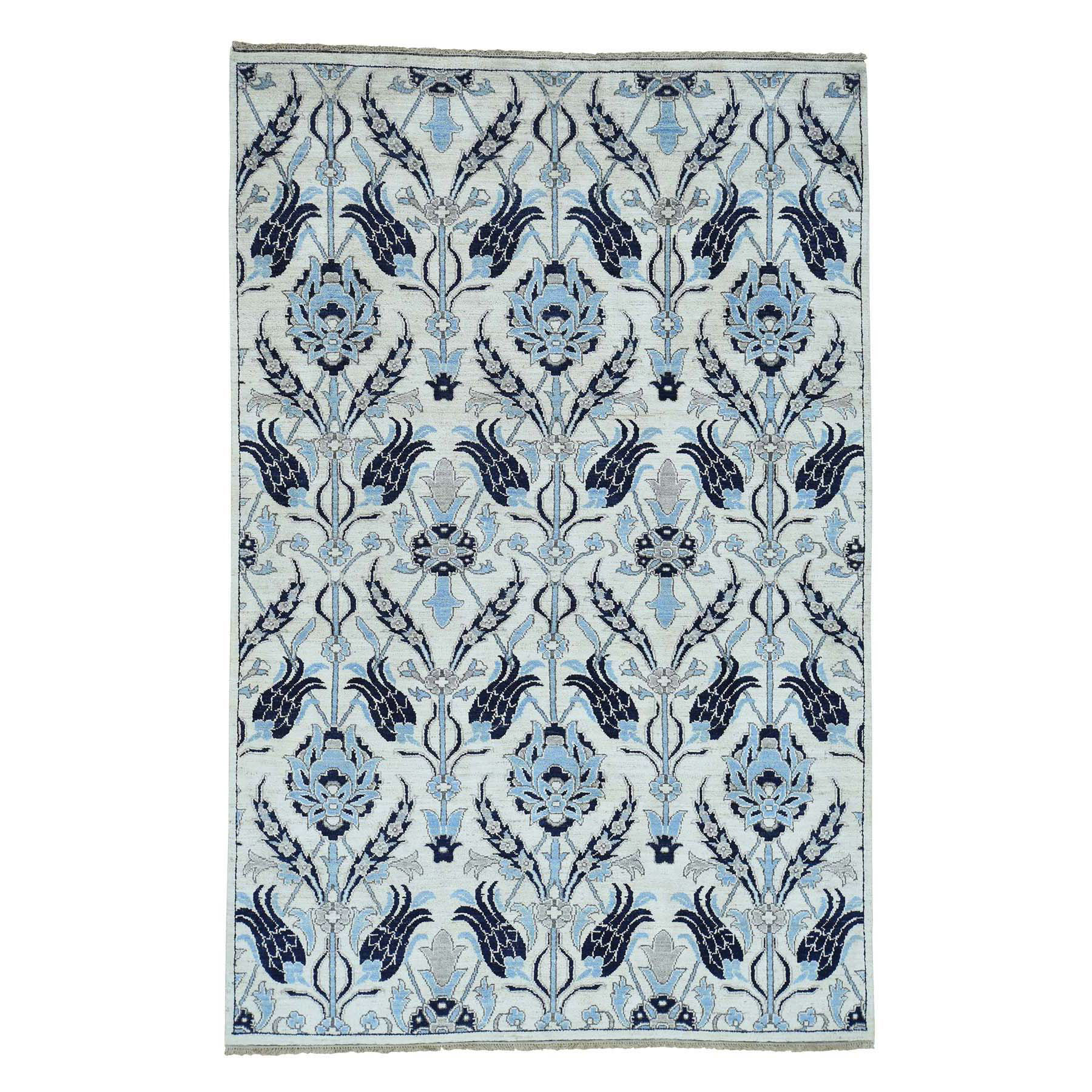 Agra And Turkish Collection Hand Knotted Ivory Rug No: 0173504