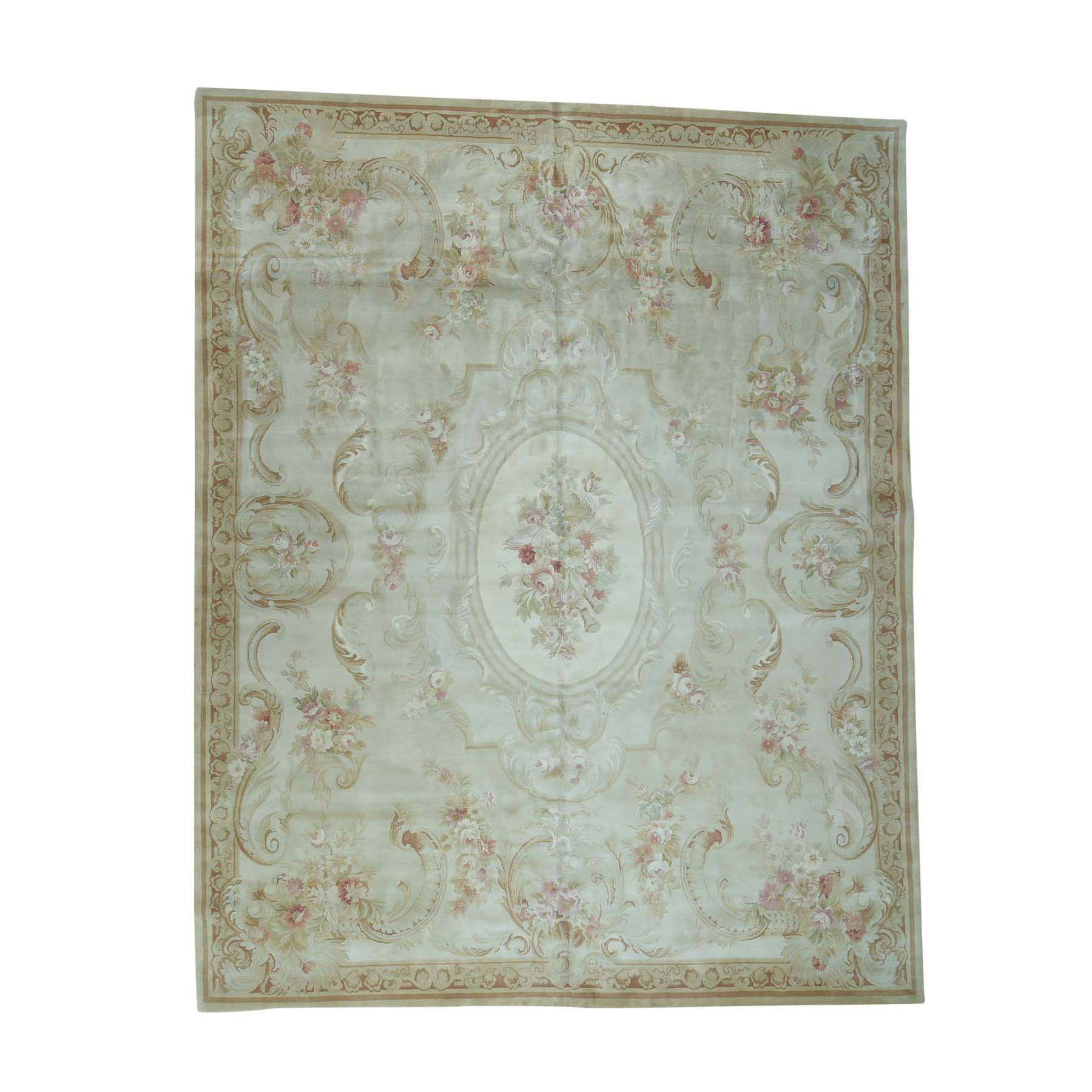 Elegant European Collection Hand Knotted Ivory Rug No: 0173818