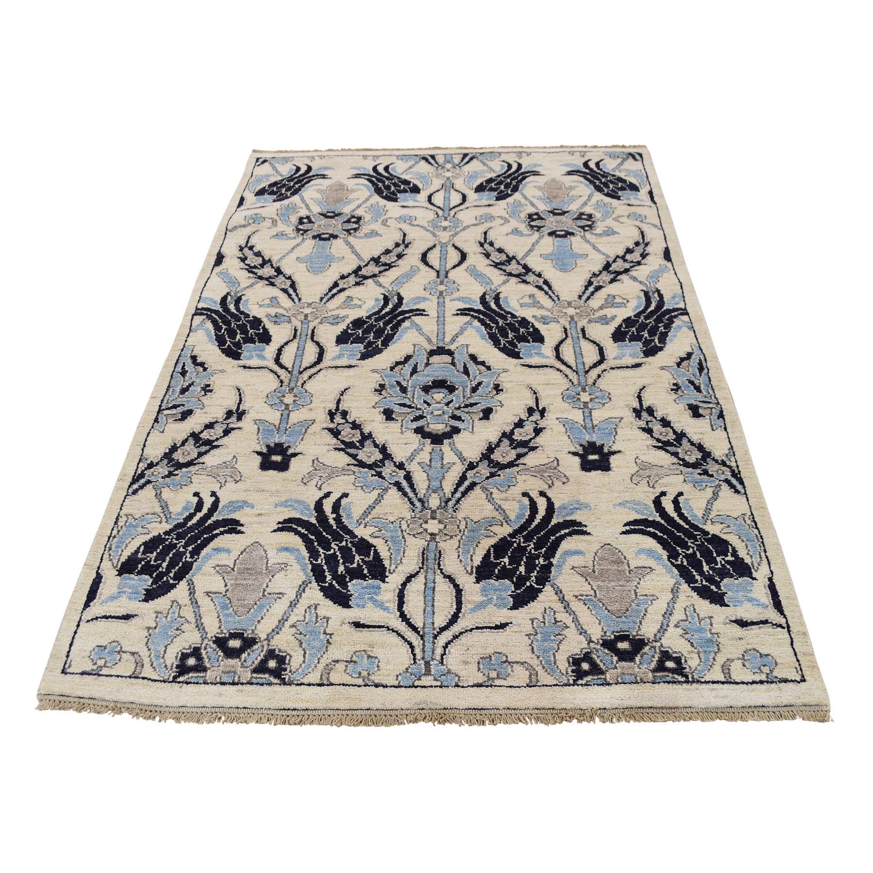 William Morris And Victorian Collection Hand Knotted Ivory Rug No: 0174740