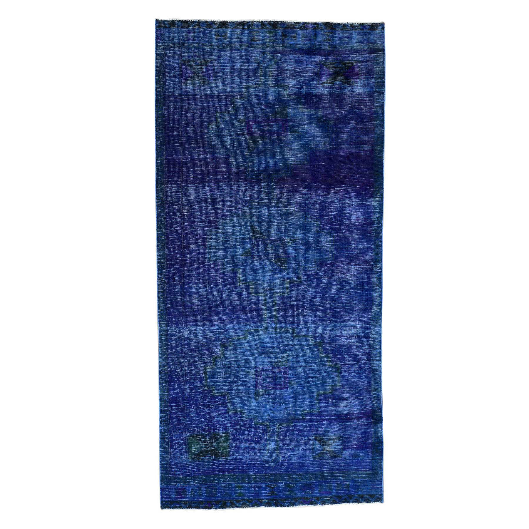 Fetneh Collection And Vintage Overdyed Collection Hand Knotted Blue Rug No: 0175266