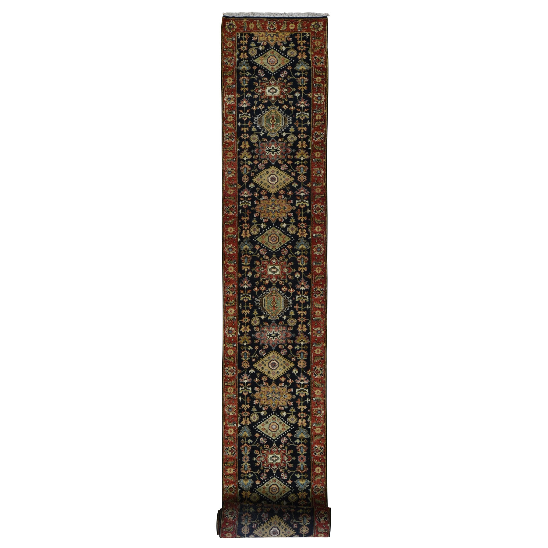 Serapi Heriz and Bakhshayesh Collection Hand Knotted Black Rug No: 197954