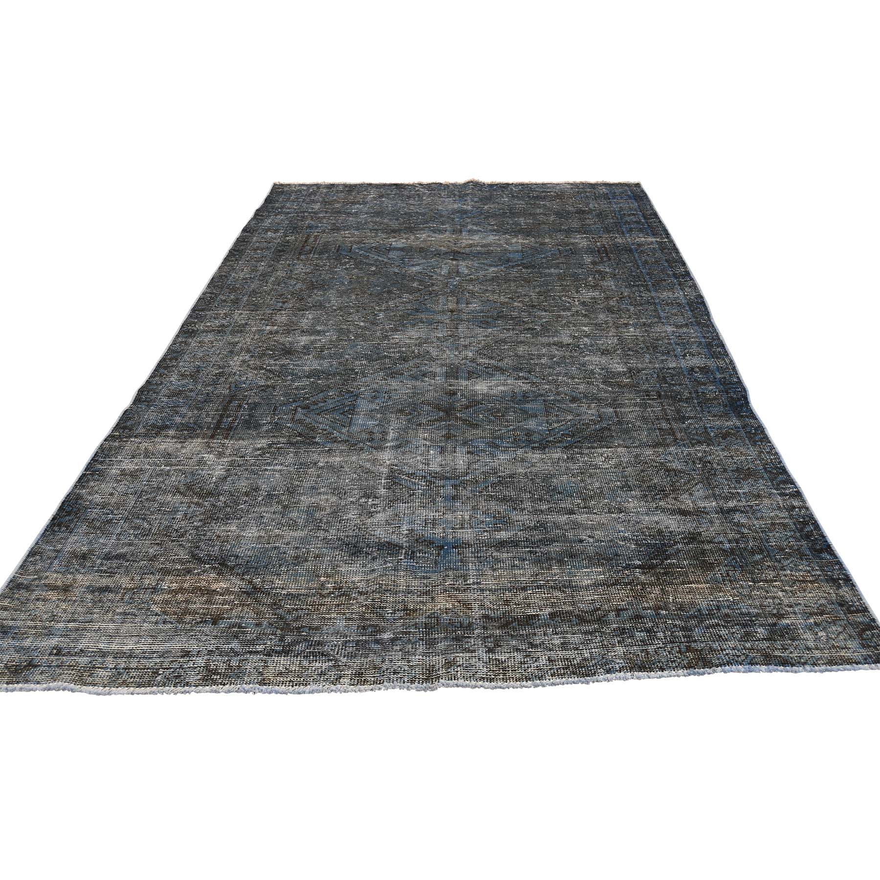 Fetneh Collection And Vintage Overdyed Collection Hand Knotted Blue Rug No: 0177332