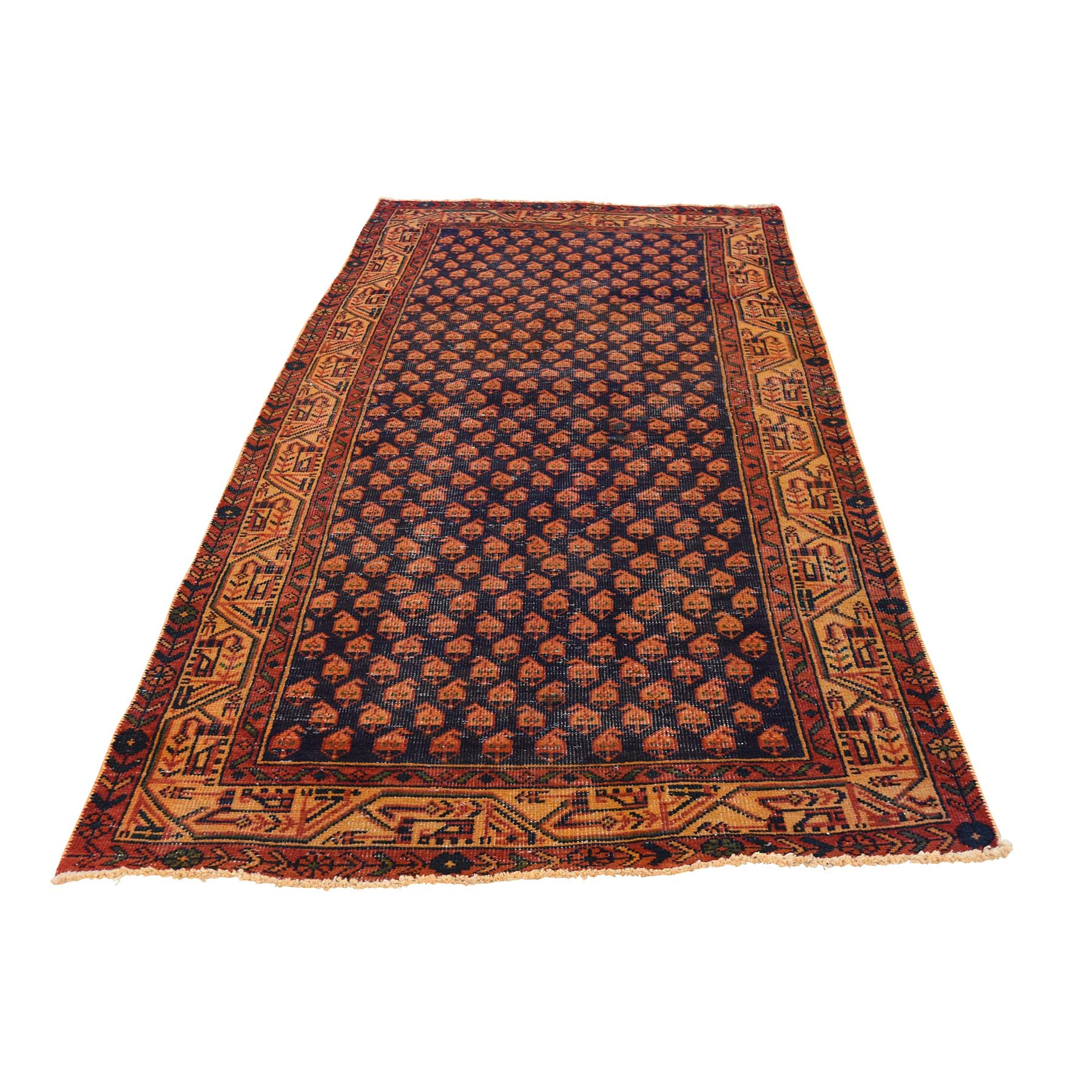 Fetneh Collection And Vintage Overdyed Collection Hand Knotted Brown Rug No: 0177374