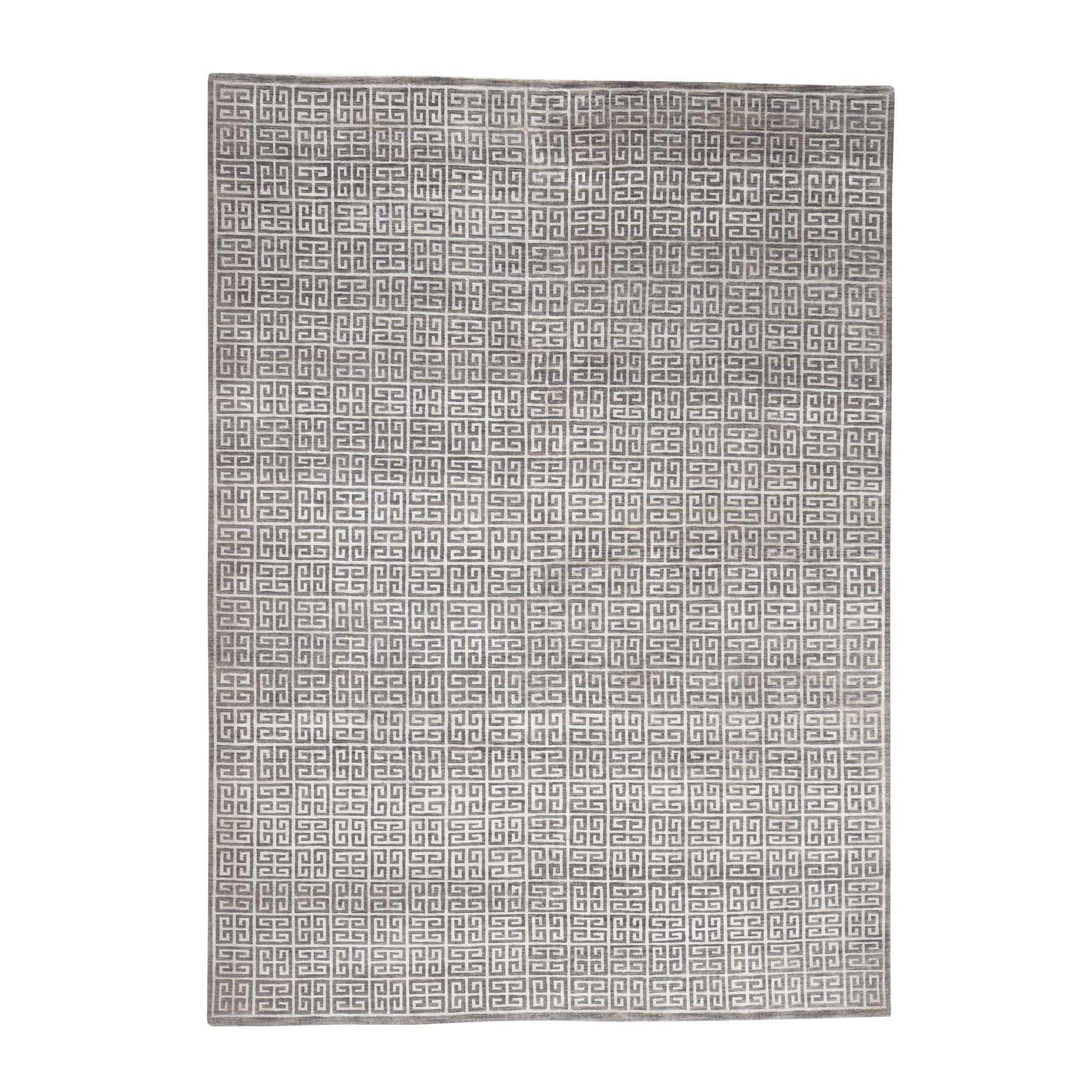 Mid Century Modern Collection Hand Knotted Grey Rug No: 0178916