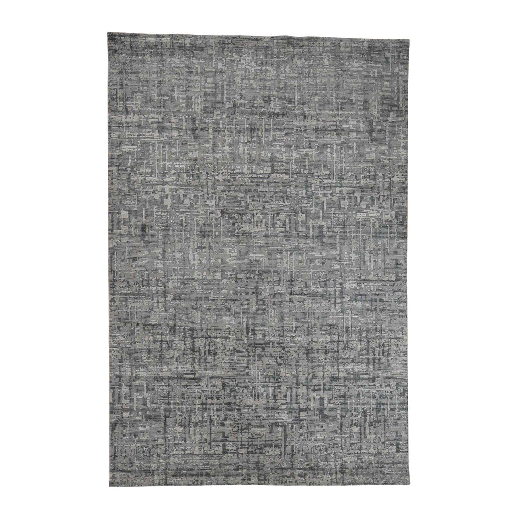 Mid Century Modern Collection Hand Knotted Grey Rug No: 0179910
