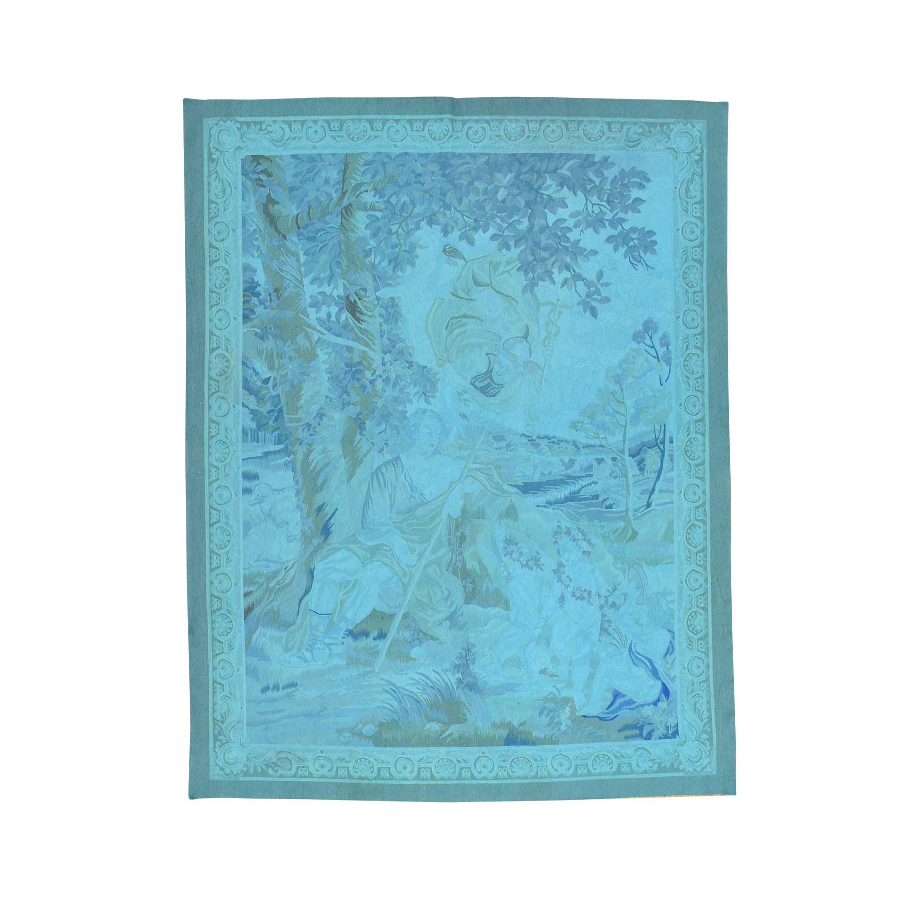 Elegant European Collection Hand Woven Blue Rug No: 163846