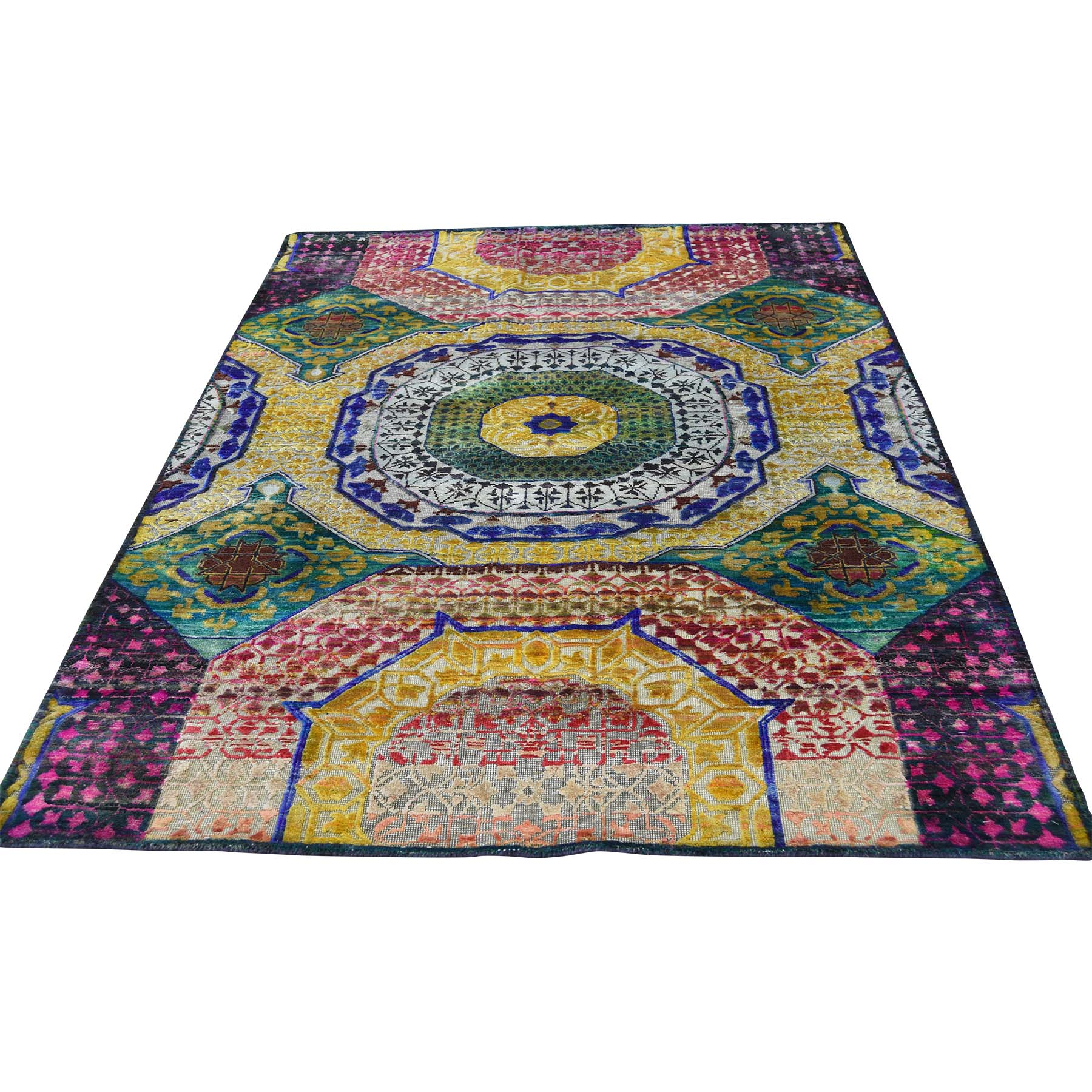 Intricate Collection Hand Knotted Yellow Rug No: 0177506