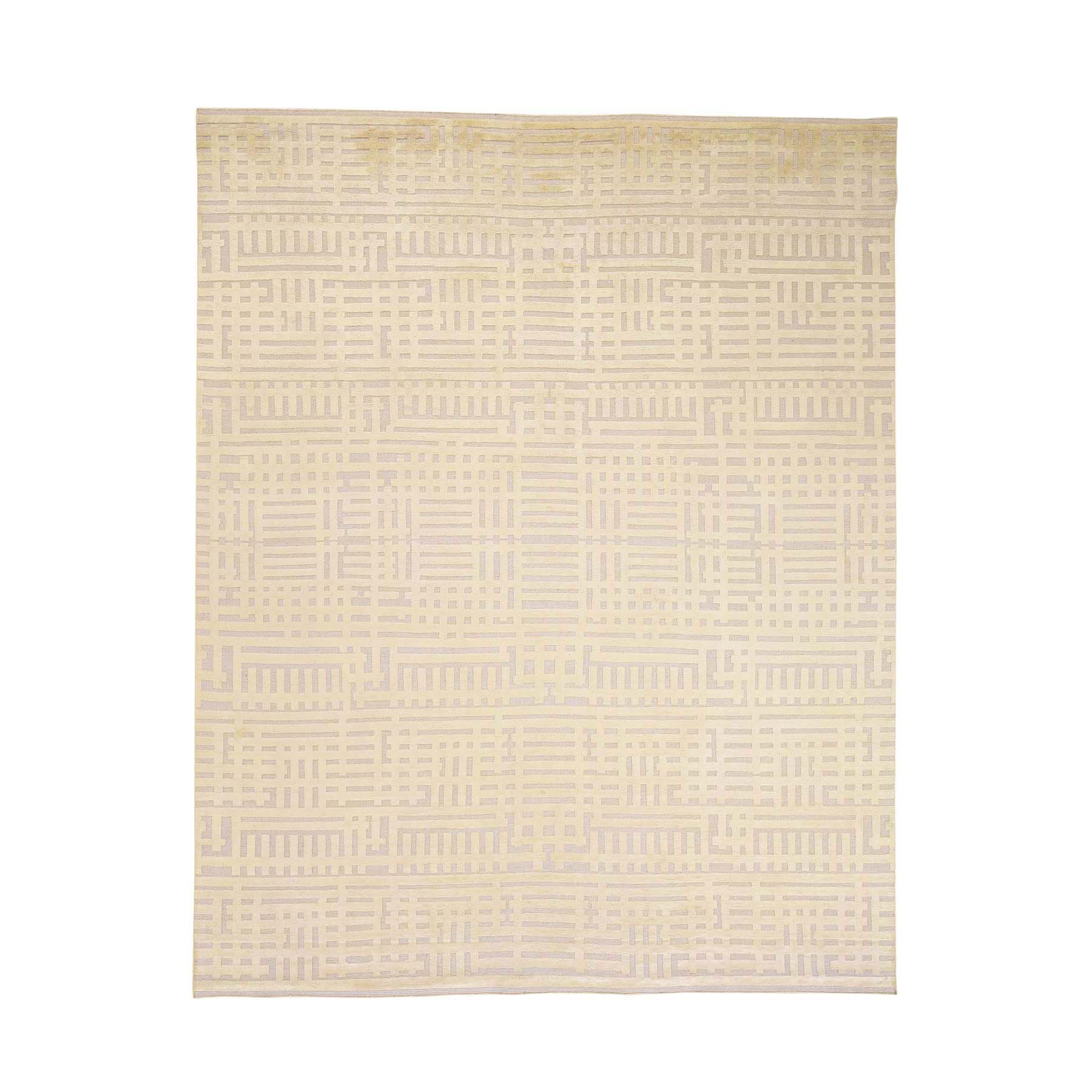 Mid Century Modern Collection Hand Knotted Yellow Rug No: 0177980