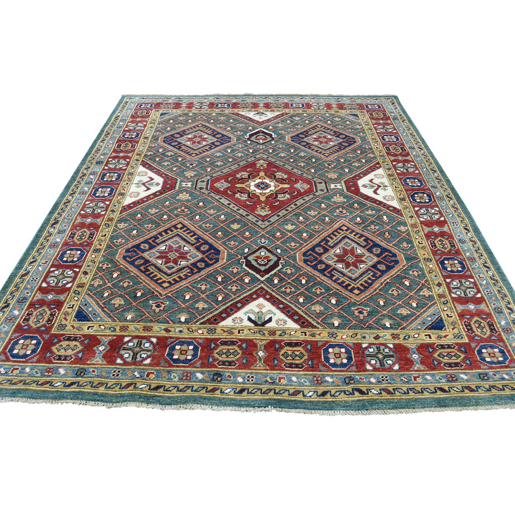 Caucasian Collection Hand Knotted Teal Rug No: 0177616