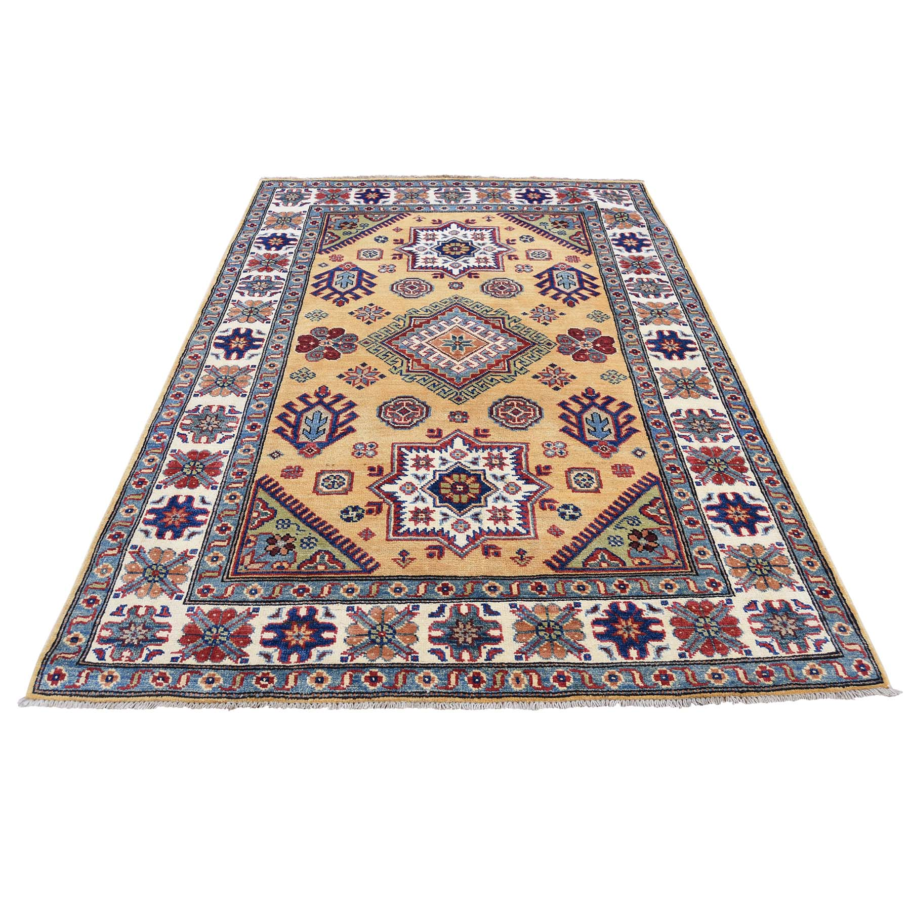 Caucasian Collection Hand Knotted Yellow Rug No: 0177624