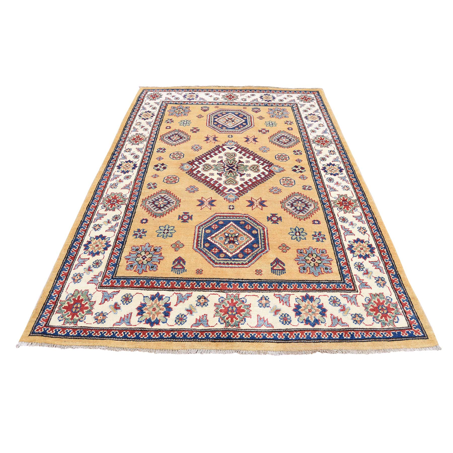 Caucasian Collection Hand Knotted Yellow Rug No: 0177630