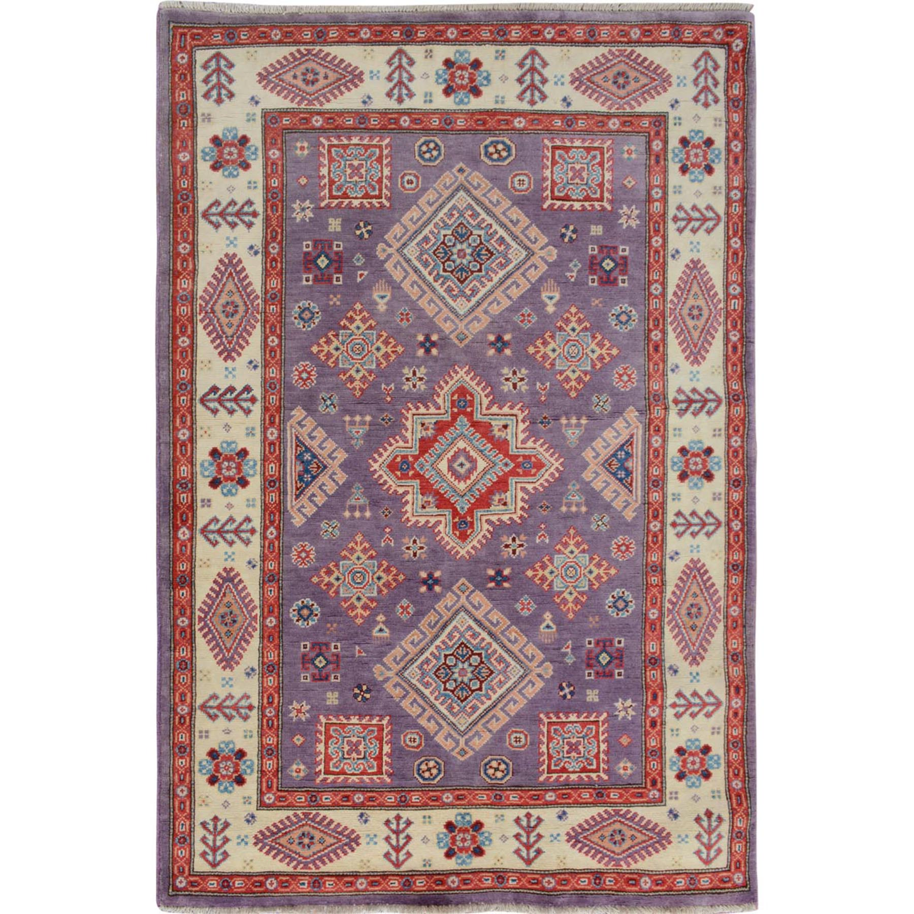 Caucasian Collection Hand Knotted Purple Rug No: 1114148