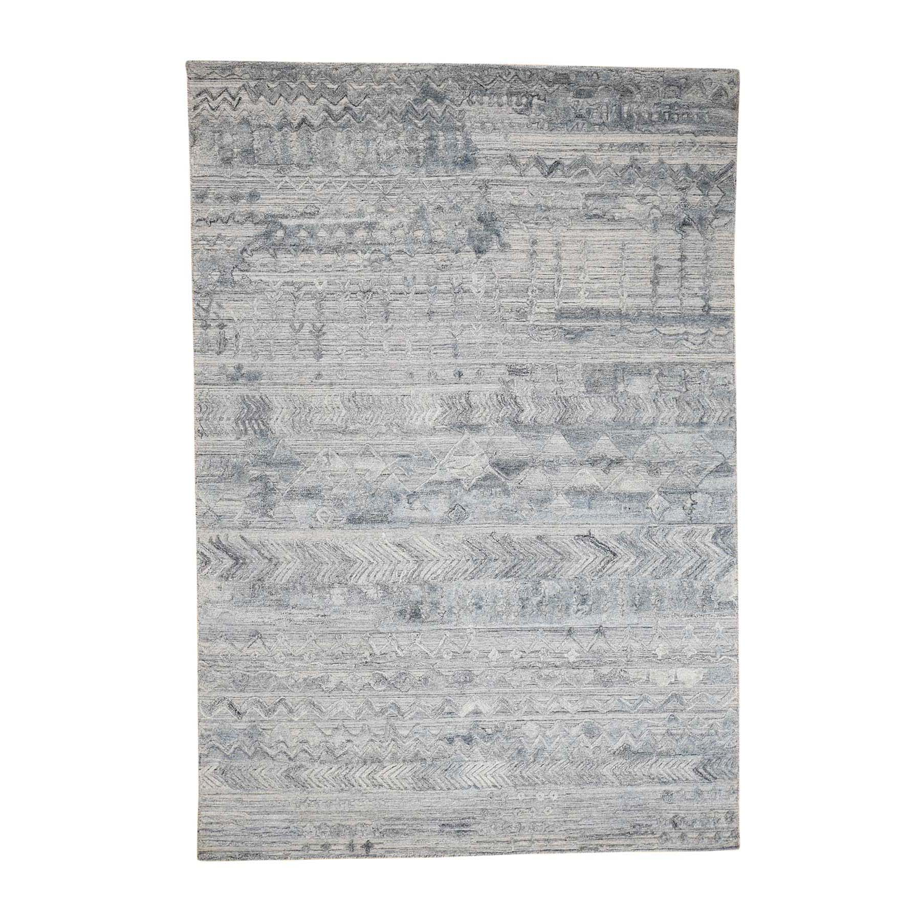 Mid Century Modern Collection Hand Loomed Blue Rug No: 0180004