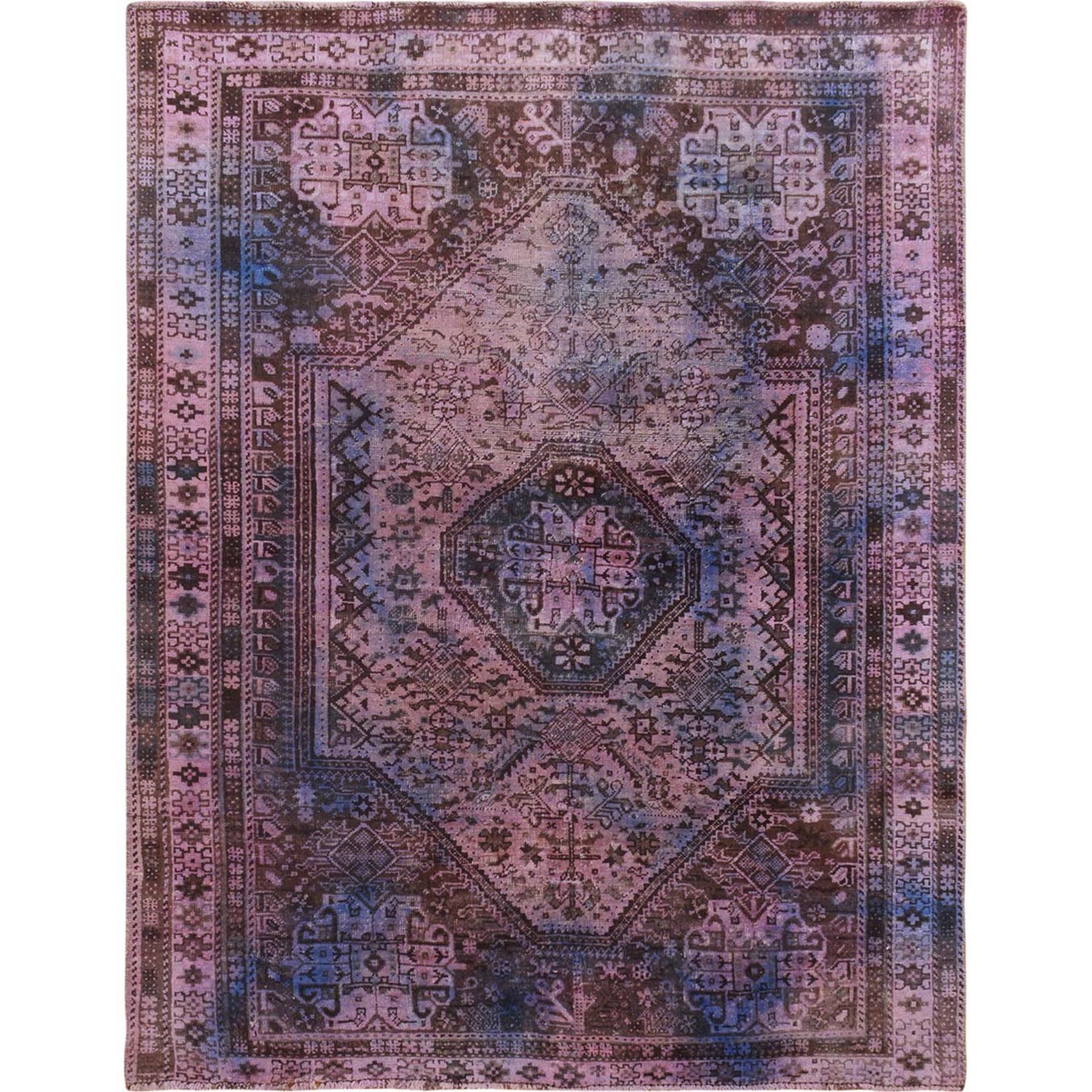 Fetneh Collection And Vintage Overdyed Collection Hand Knotted Purple Rug No: 1115344
