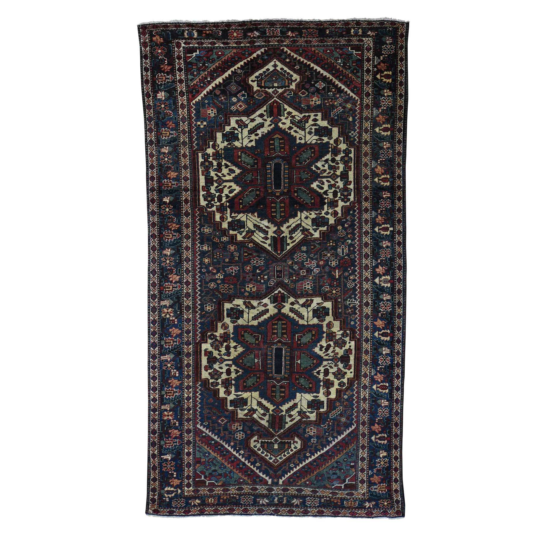 Fetneh Collection And Vintage Overdyed Collection Hand Knotted Blue Rug No: 0178994