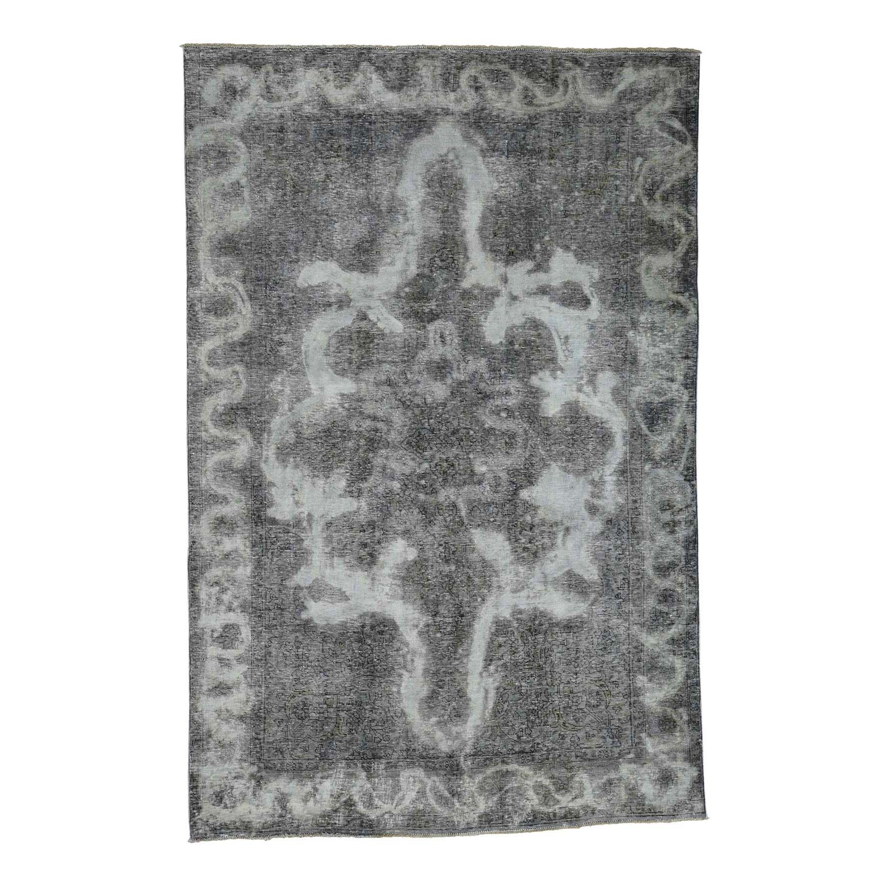 Fetneh Collection And Vintage Overdyed Collection Hand Knotted Black Rug No: 0179044