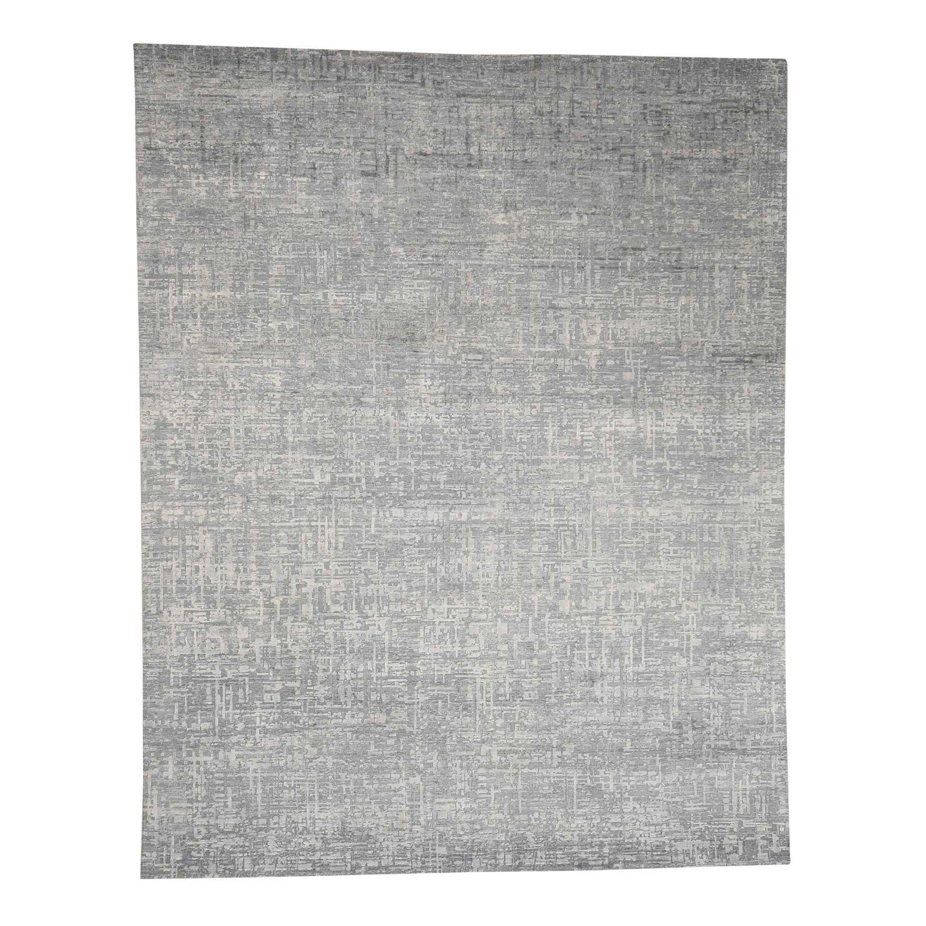 Mid Century Modern Collection Hand Knotted Grey Rug No: 0179184