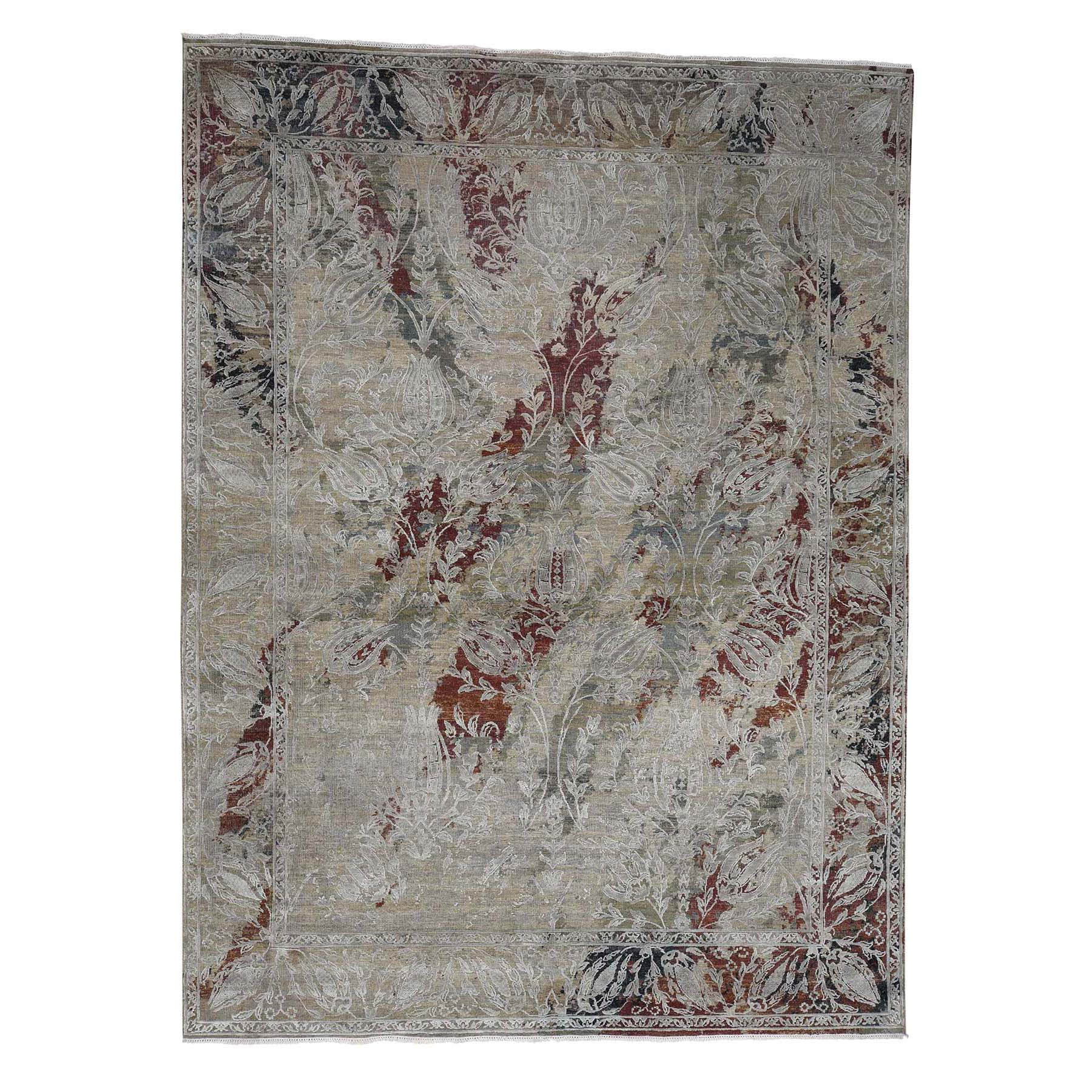 Transitional Hand Knotted Brown Rug No: 0179174