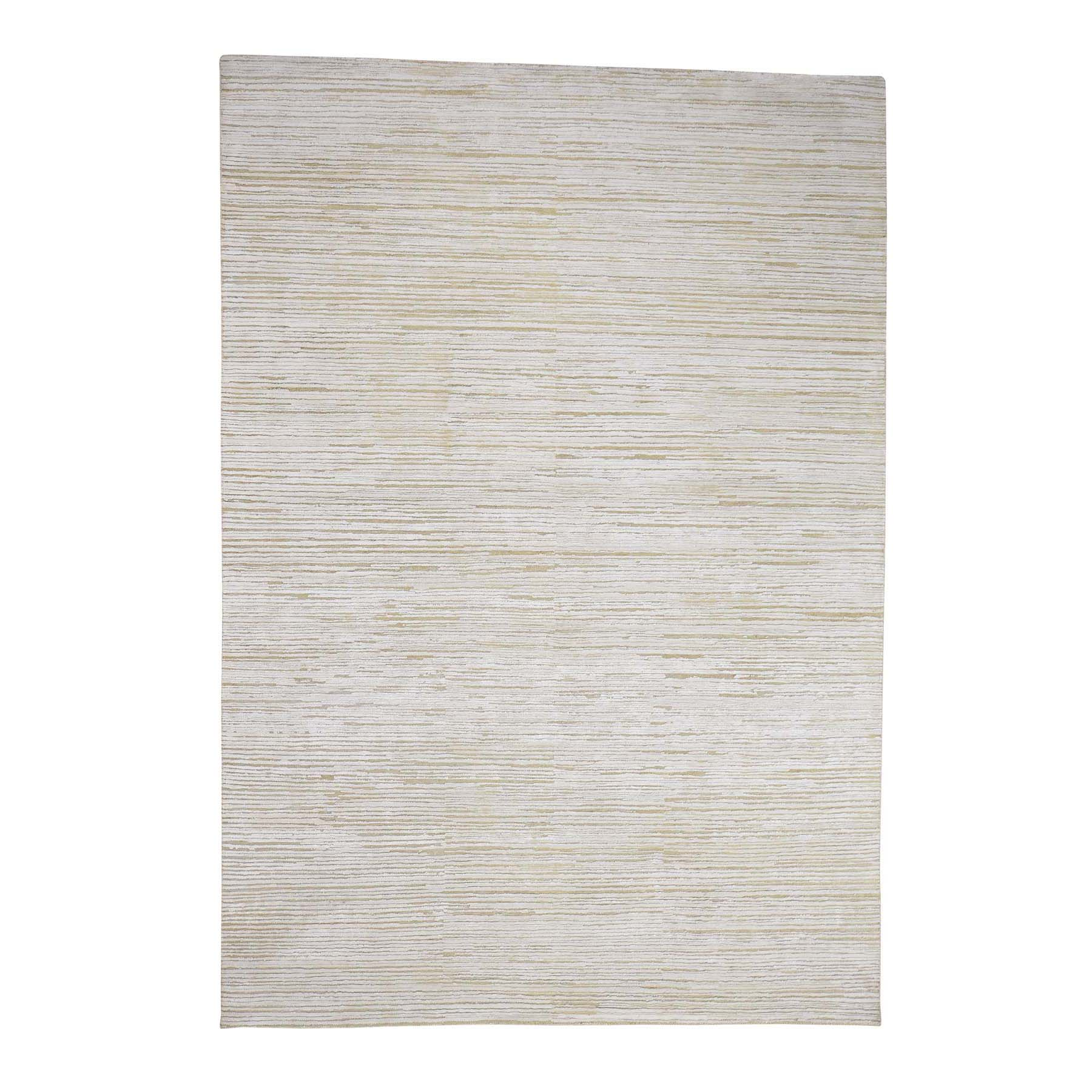 Mid Century Modern Collection Hand Knotted Ivory Rug No: 0179990