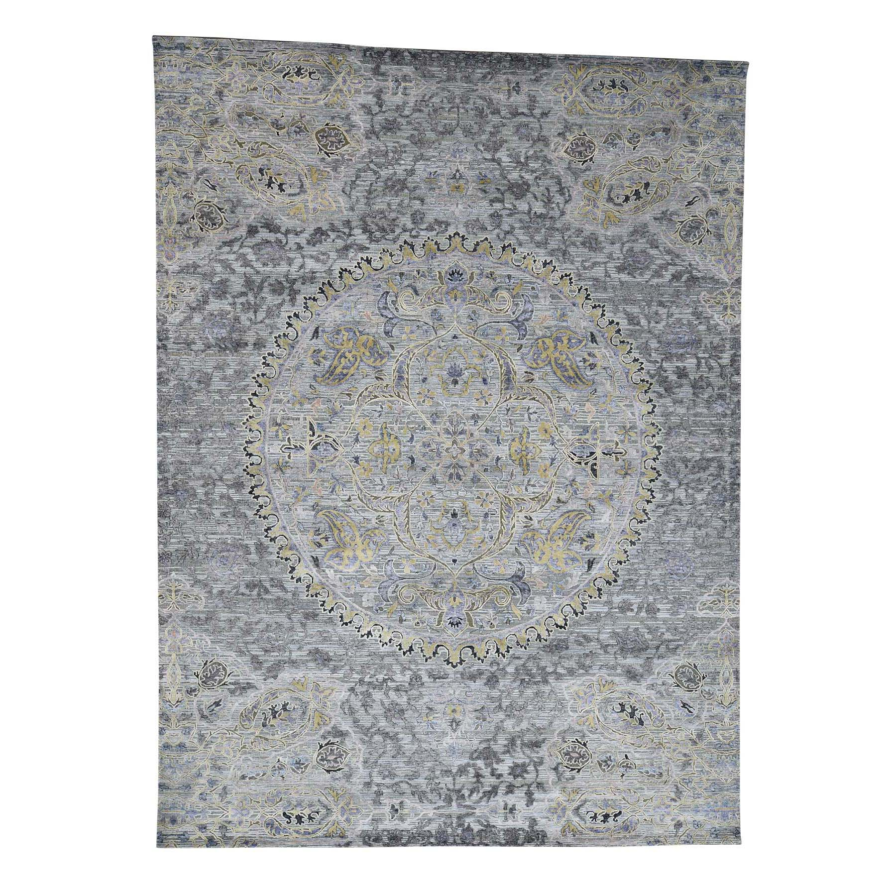 Mid Century Modern Collection Hand Knotted Grey Rug No: 0181112