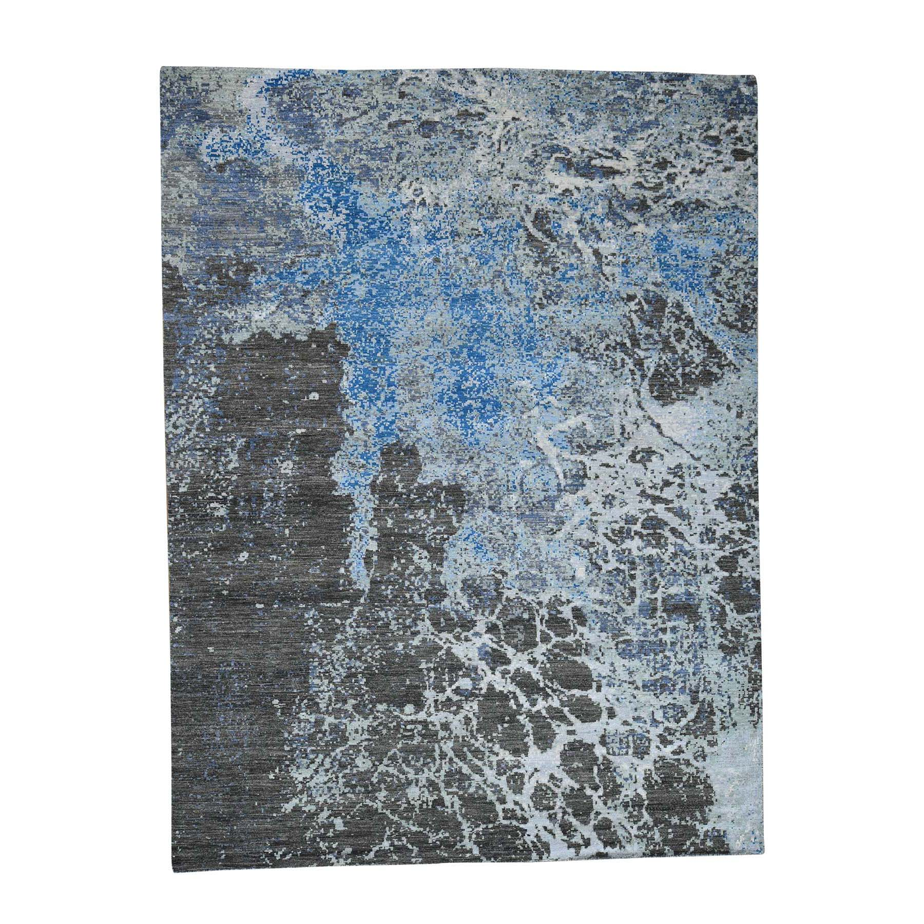 Mid Century Modern Collection Hand Knotted Brown Rug No: 0181174