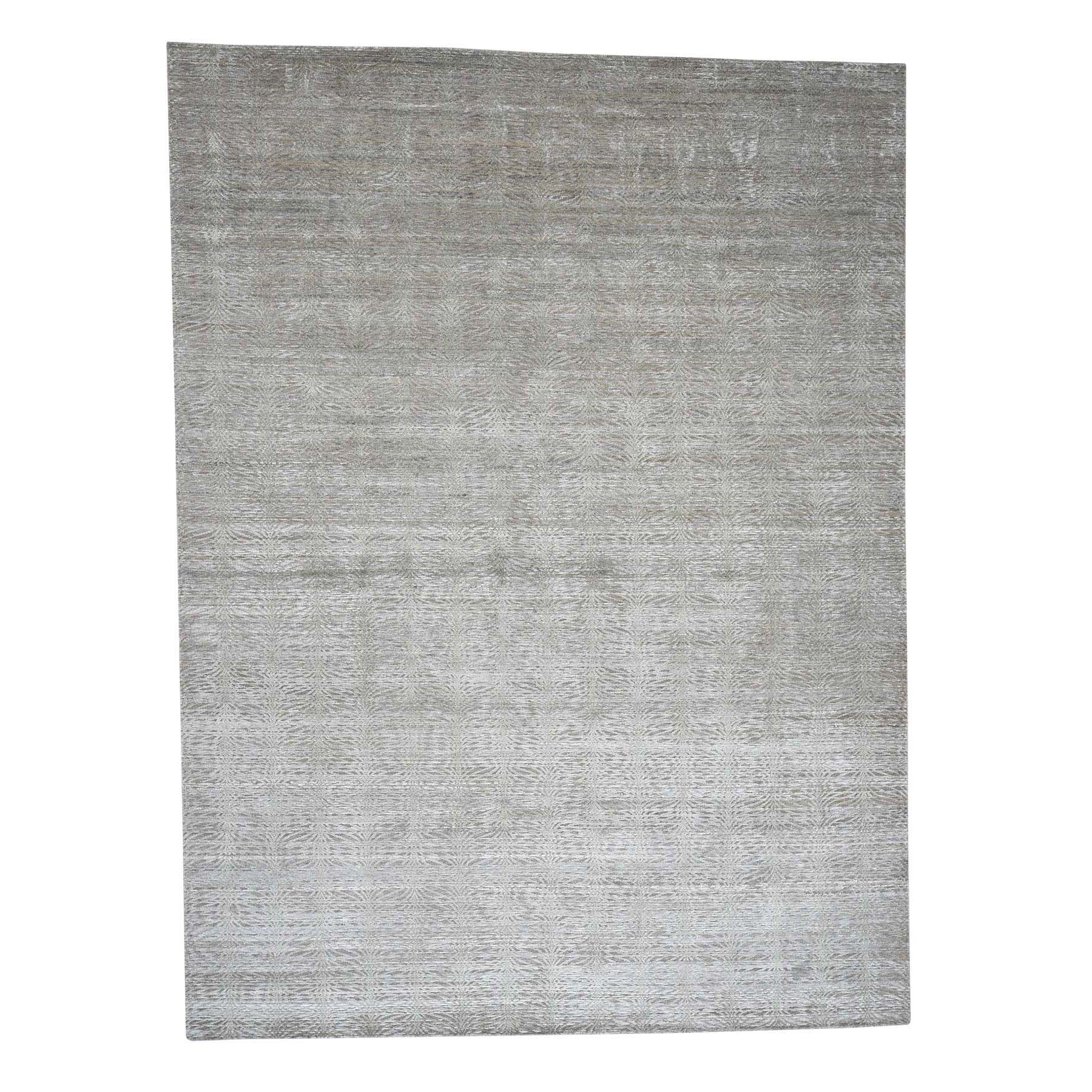 Mid Century Modern Collection Hand Knotted Teal Rug No: 0181182