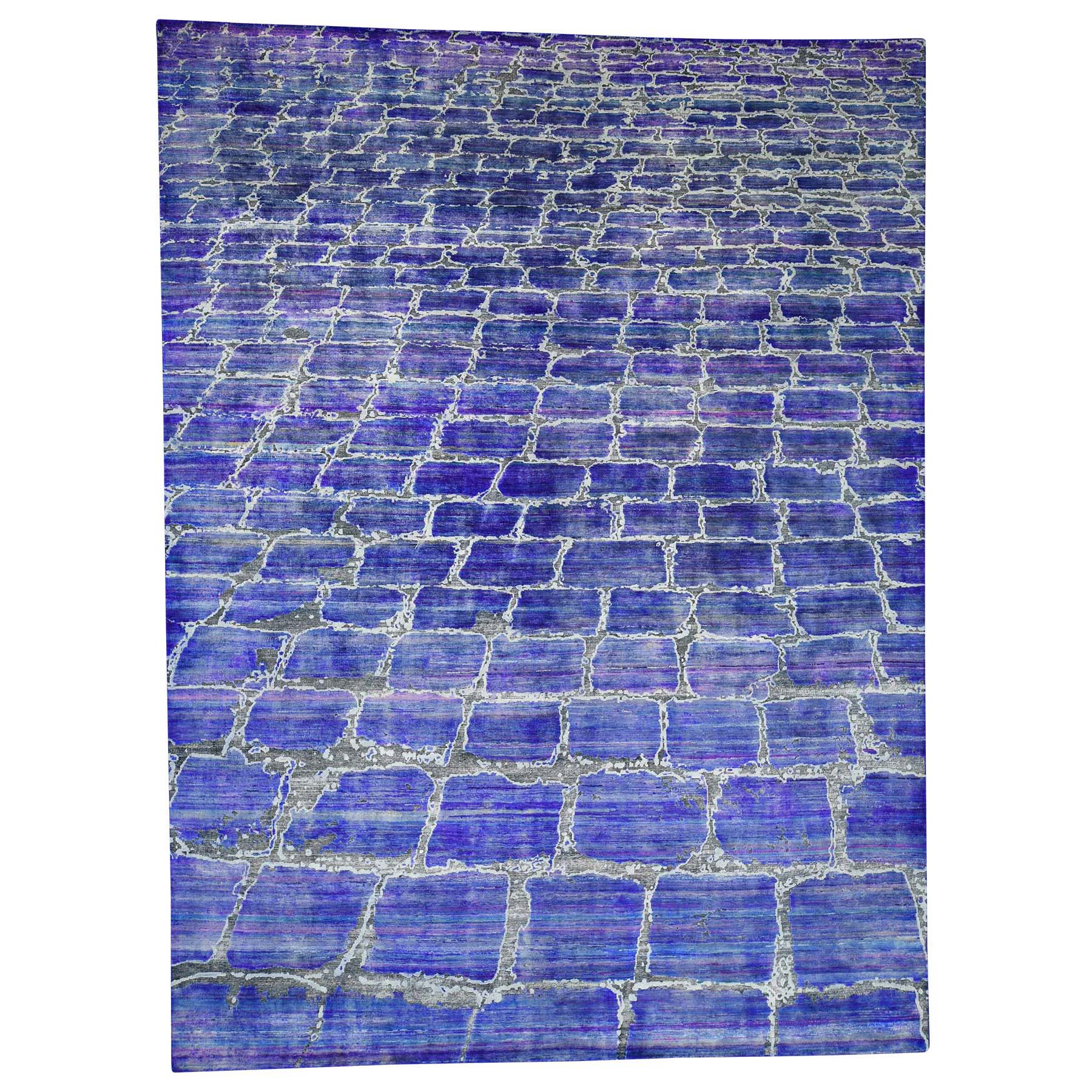 Mid Century Modern Collection Hand Knotted Blue Rug No: 0181202