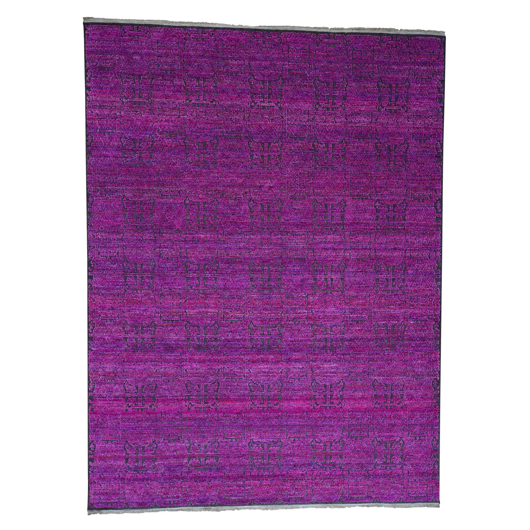 Mid Century Modern Collection Hand Knotted Pink Rug No: 0181216