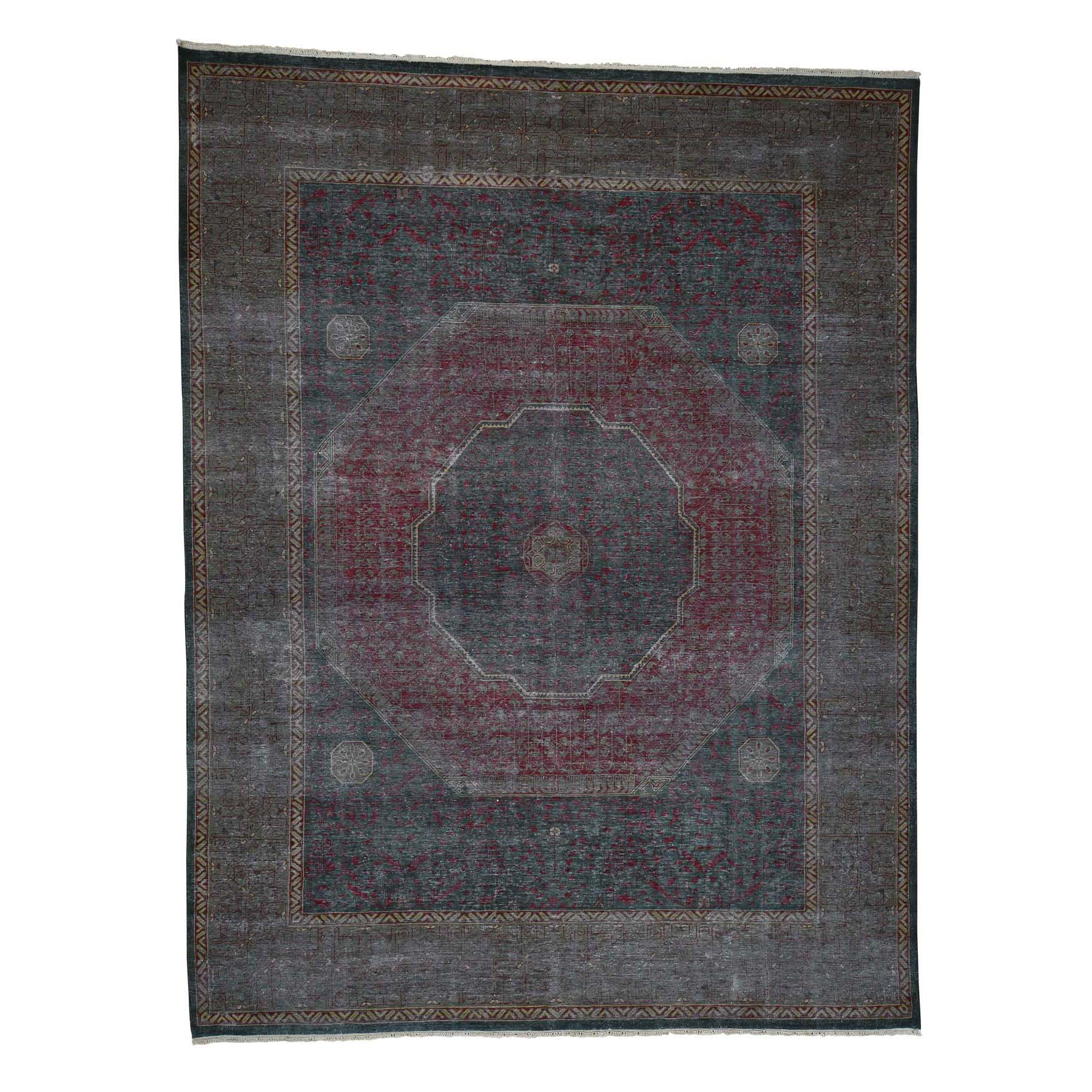 Intricate Collection Hand Knotted Green Rug No: 0181242